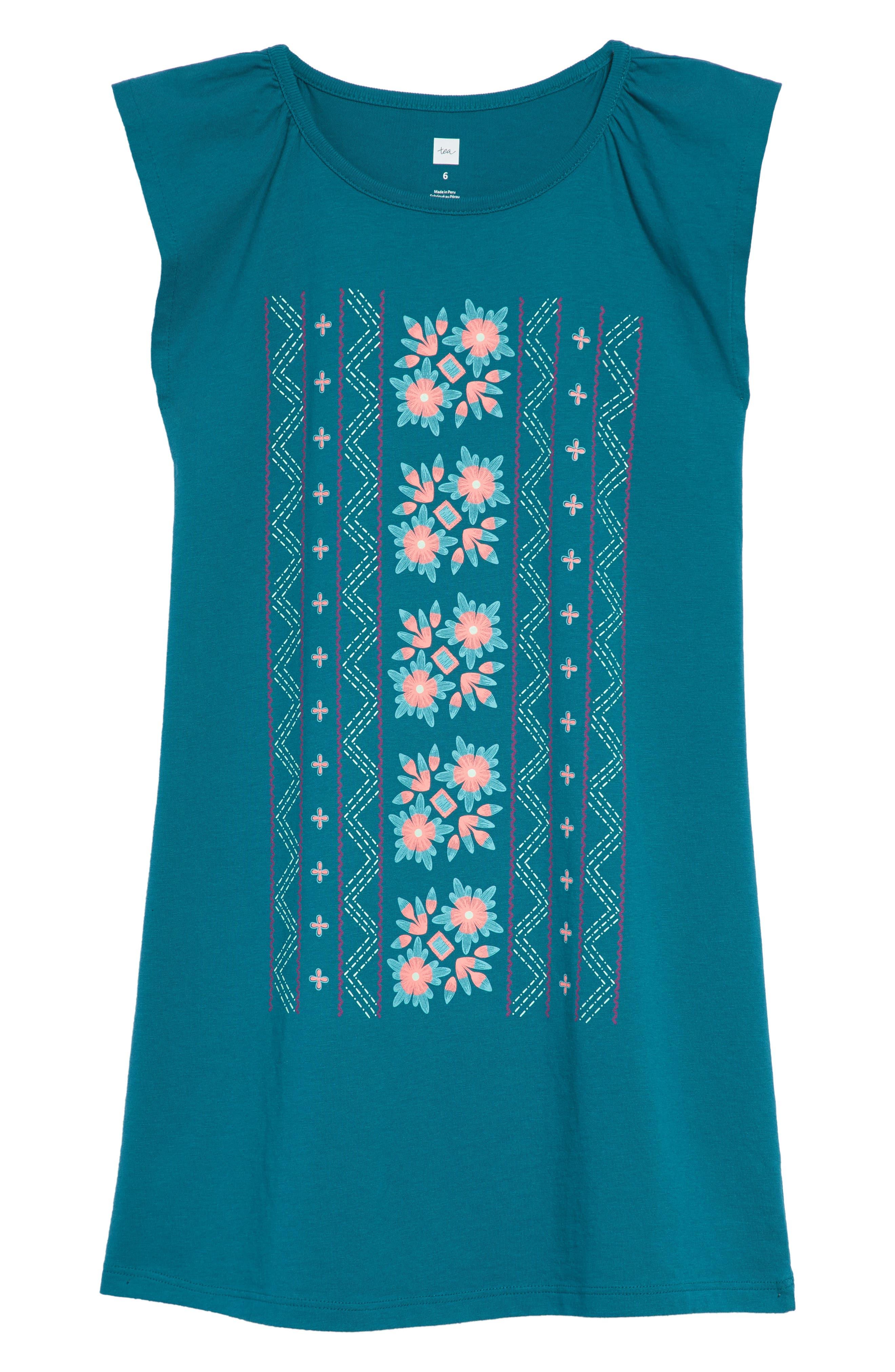 TEA COLLECTION Floral Graphic Dress, Main, color, 446