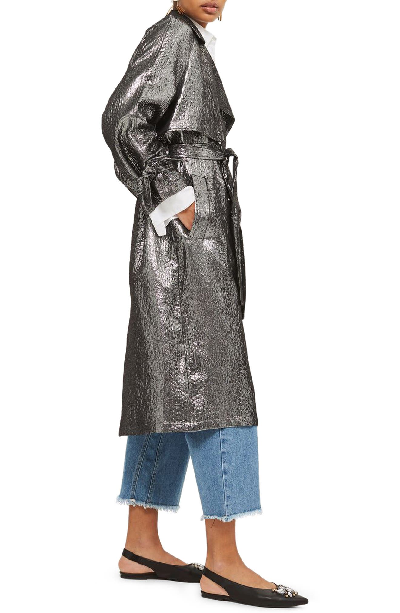 Metallic Trench Coat,                             Alternate thumbnail 3, color,                             043