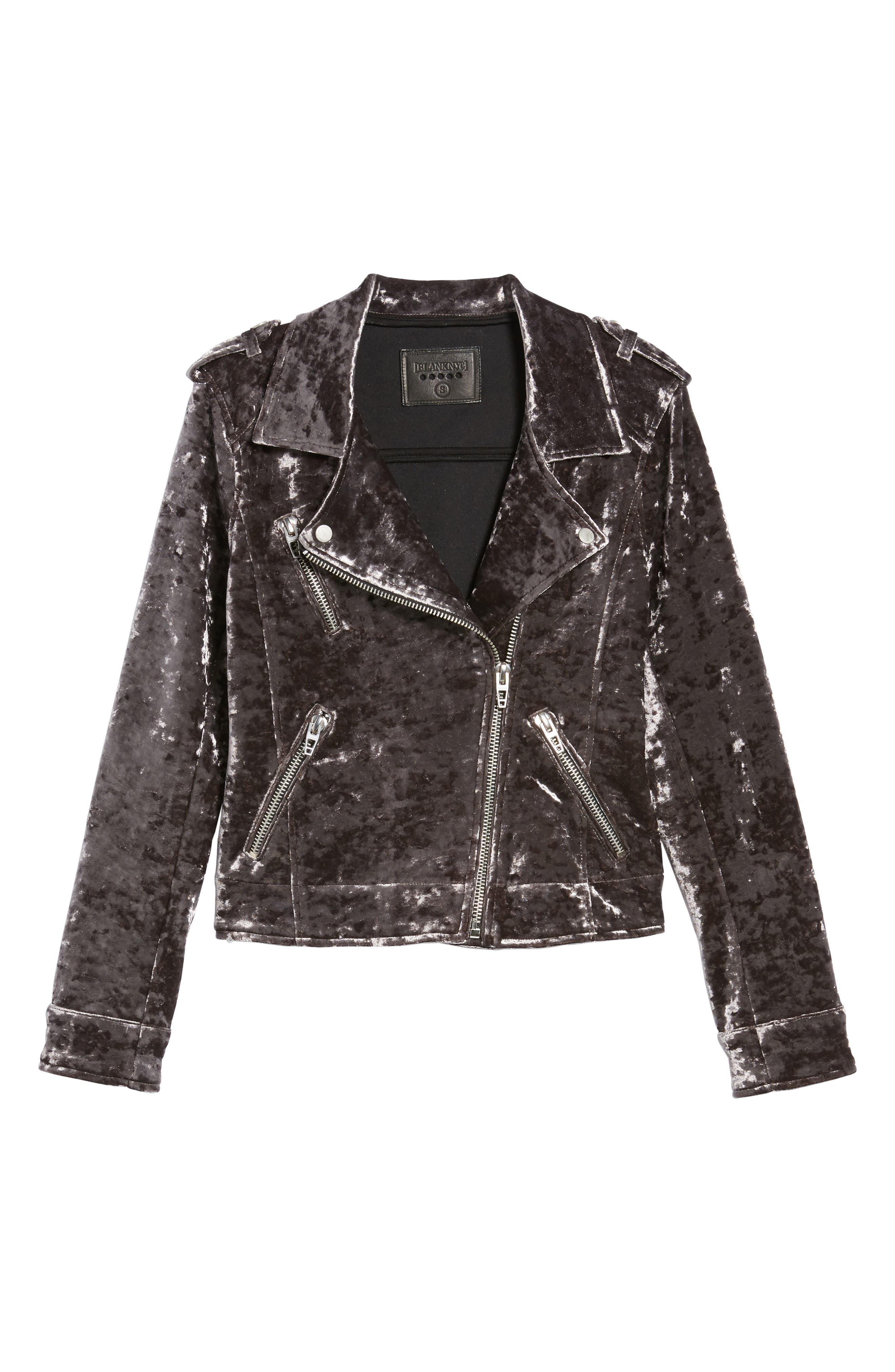 Bonded Velvet Moto Jacket,                             Alternate thumbnail 5, color,                             020