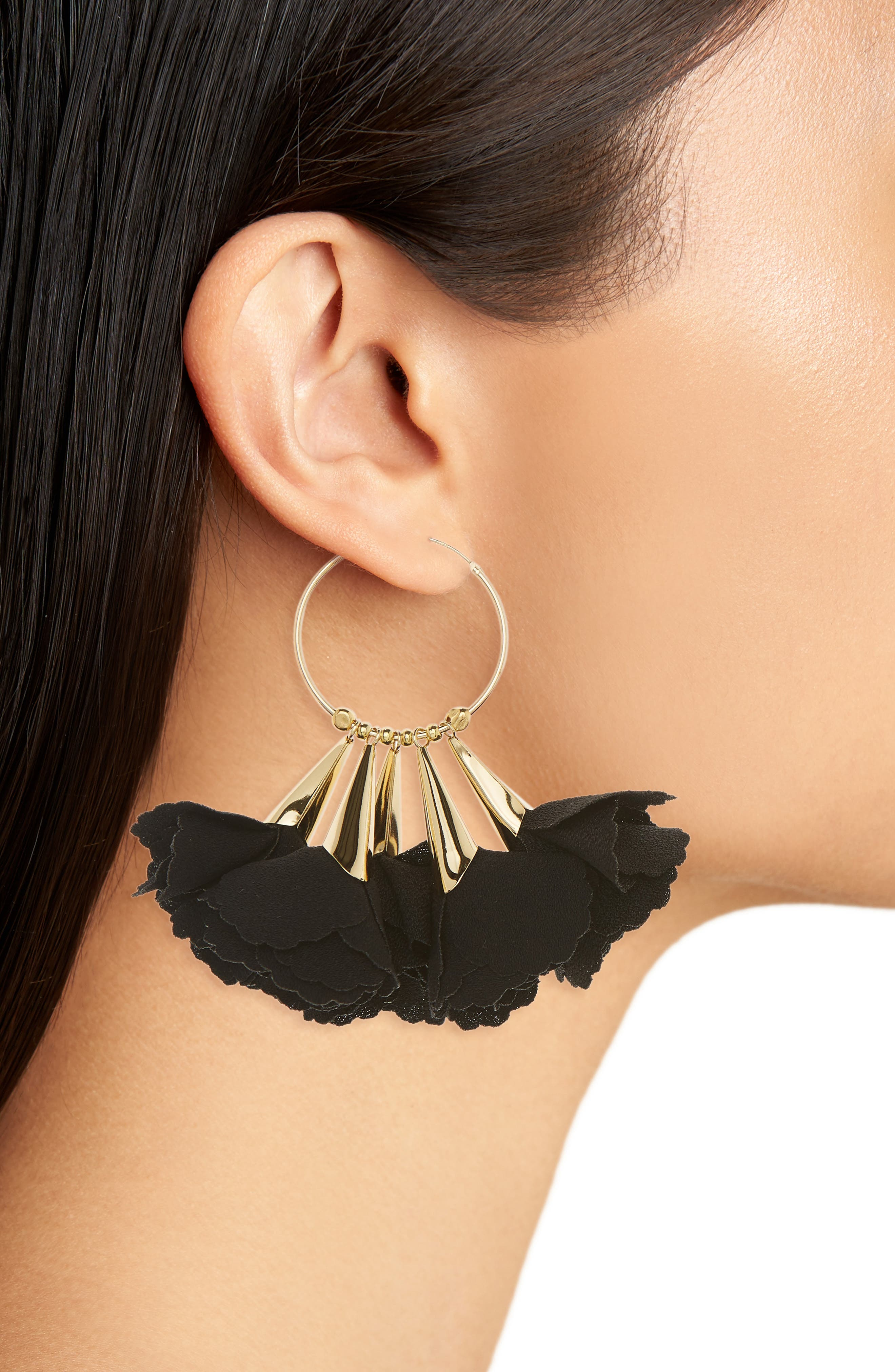 Rose Hoop Earrings,                             Alternate thumbnail 2, color,                             BLACK