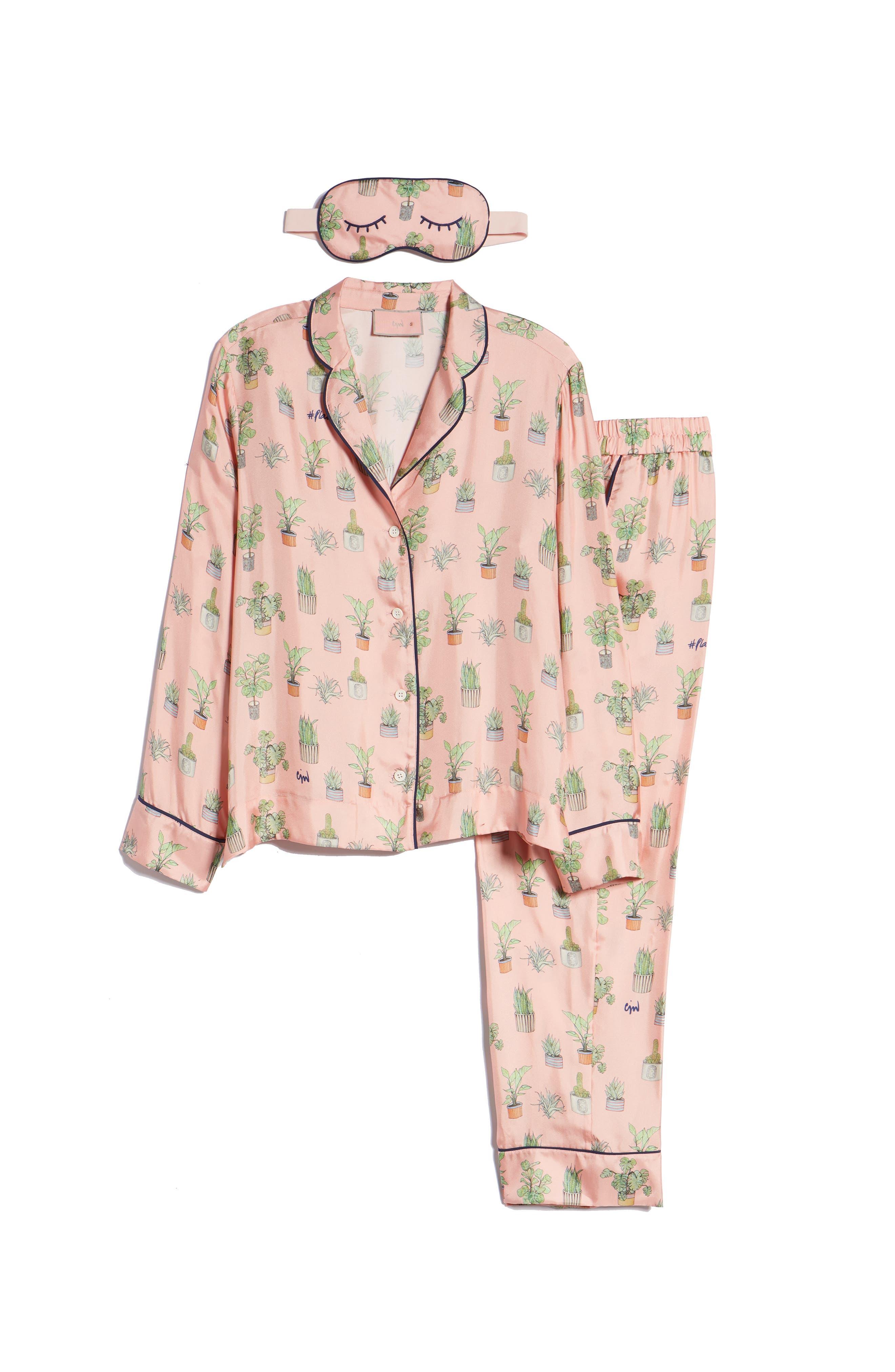 Plant Mom Silk Blend Pajamas & Eye Mask,                             Alternate thumbnail 6, color,                             650