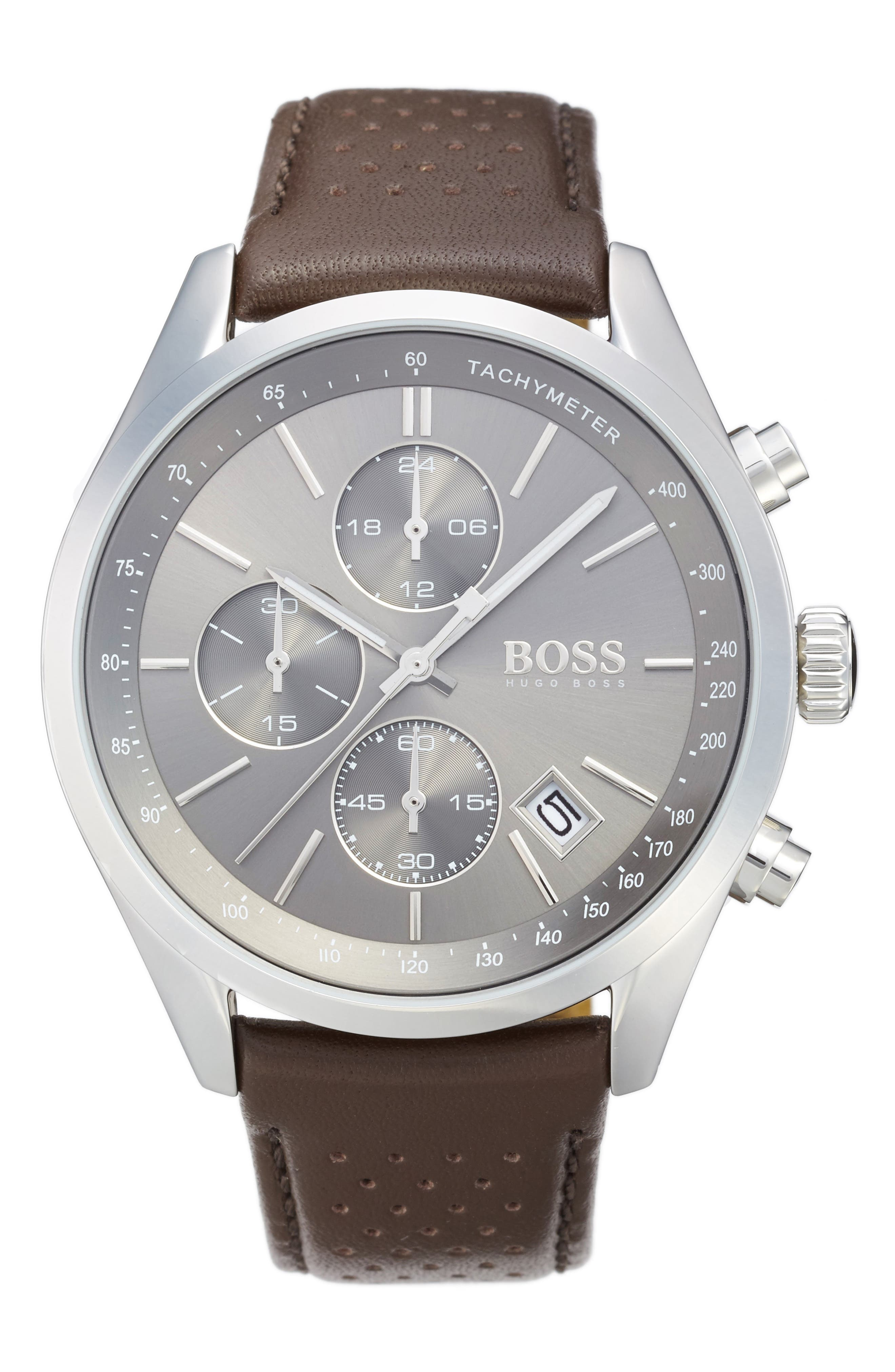 Grand Prix Leather Strap Chronograph Watch, 44mm,                             Main thumbnail 1, color,                             GREY/ BROWN