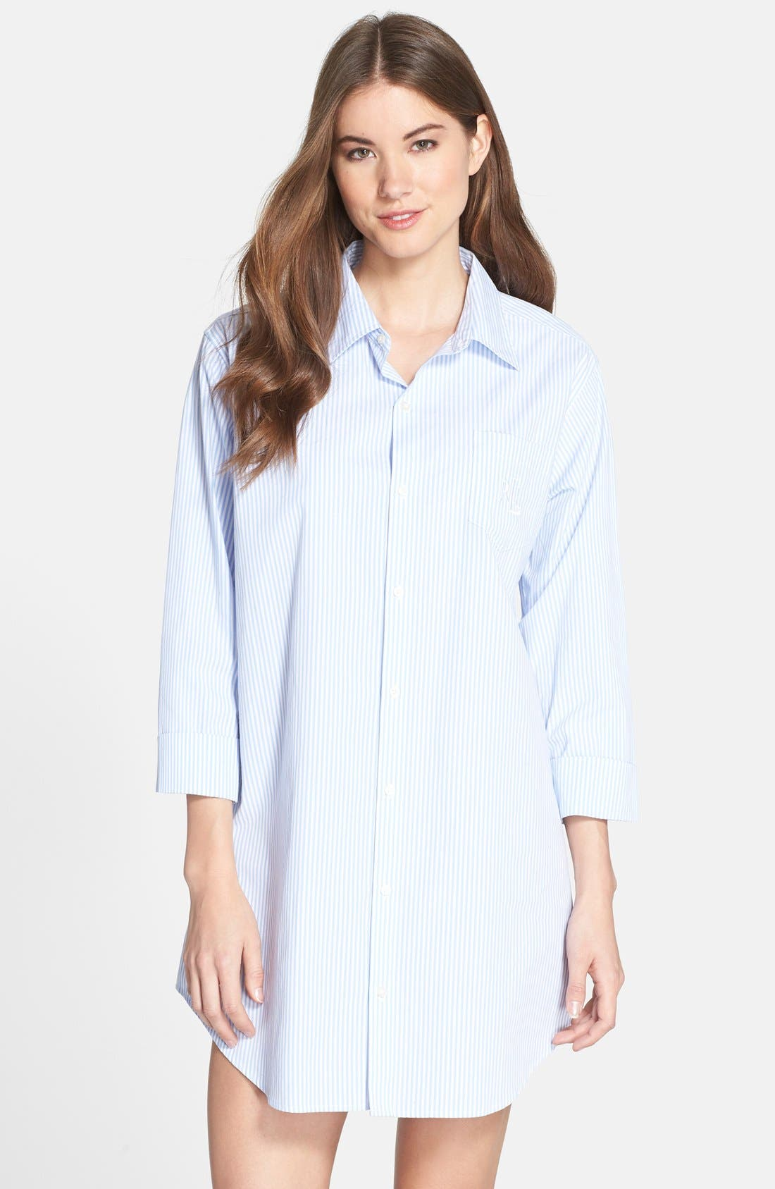 Cotton Poplin Sleep Shirt,                         Main,                         color,