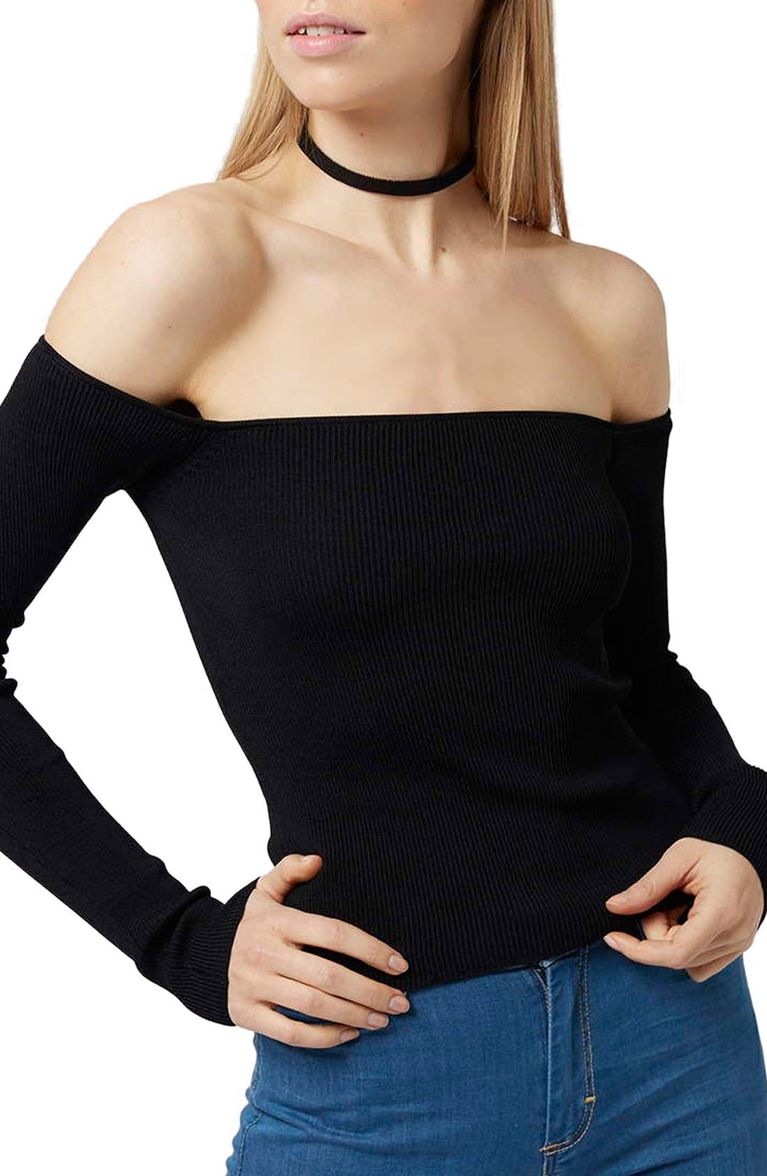 TOPSHOP,                             Off the Shoulder Top,                             Main thumbnail 1, color,                             001
