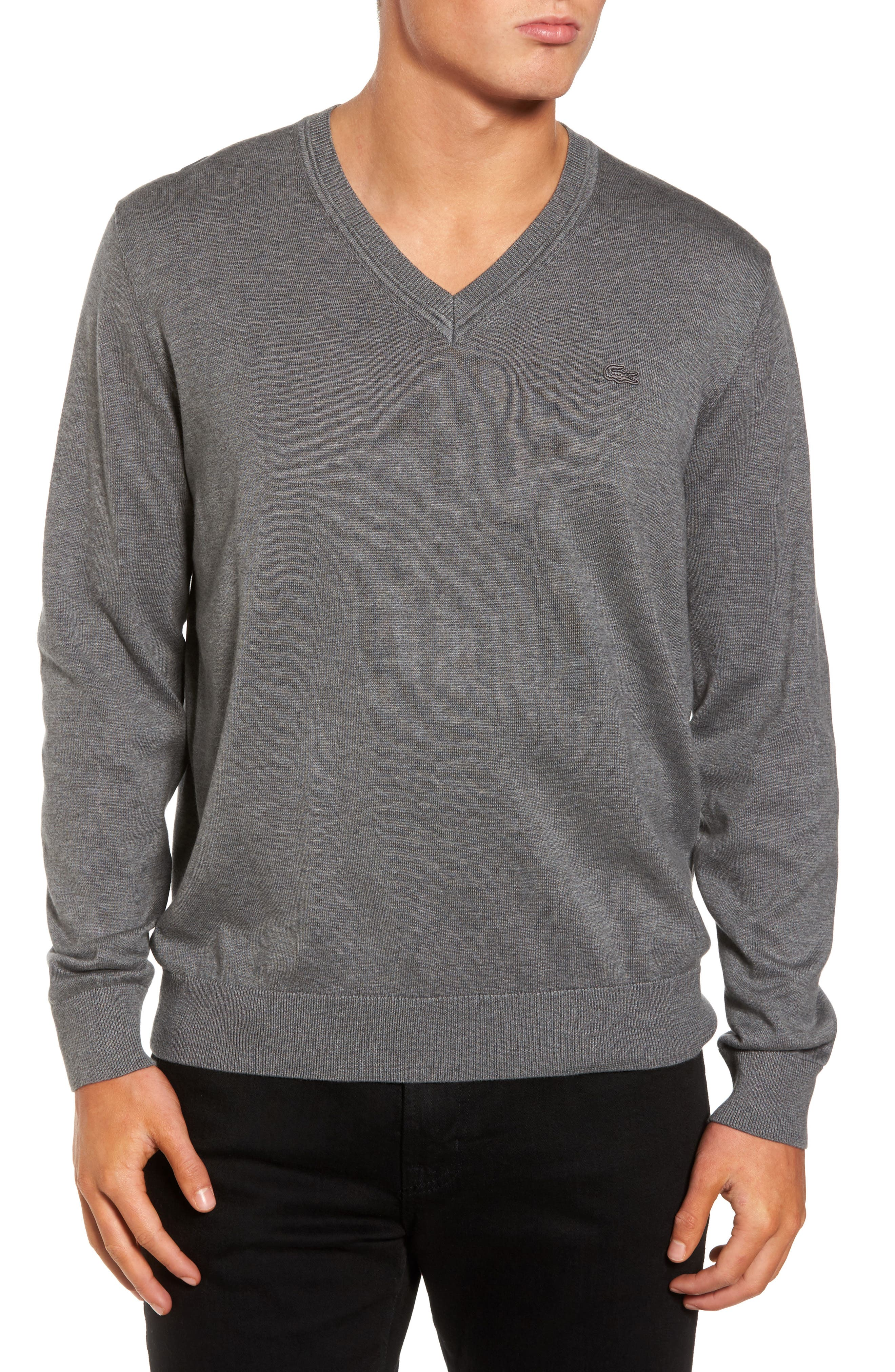 Cotton Jersey V-Neck Sweater,                             Main thumbnail 1, color,