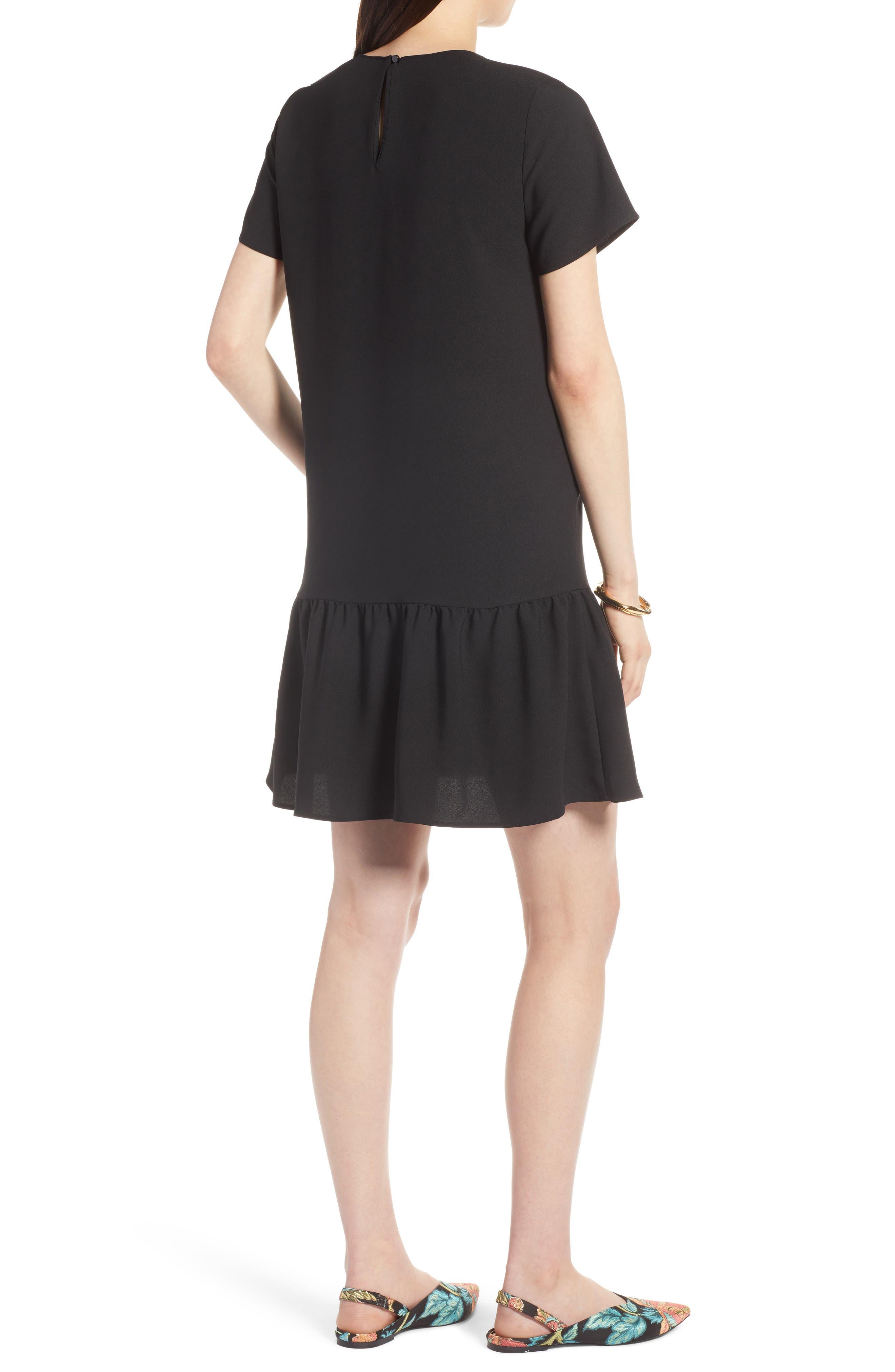 Short Sleeve Ruffle Hem Dress,                             Alternate thumbnail 2, color,                             001