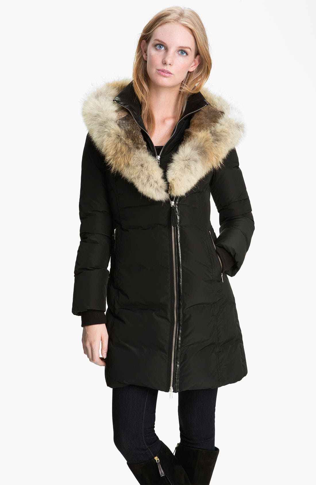 MACKAGE,                             Long Down Coat with Genuine Coyote & Rabbit Fur,                             Main thumbnail 1, color,                             001