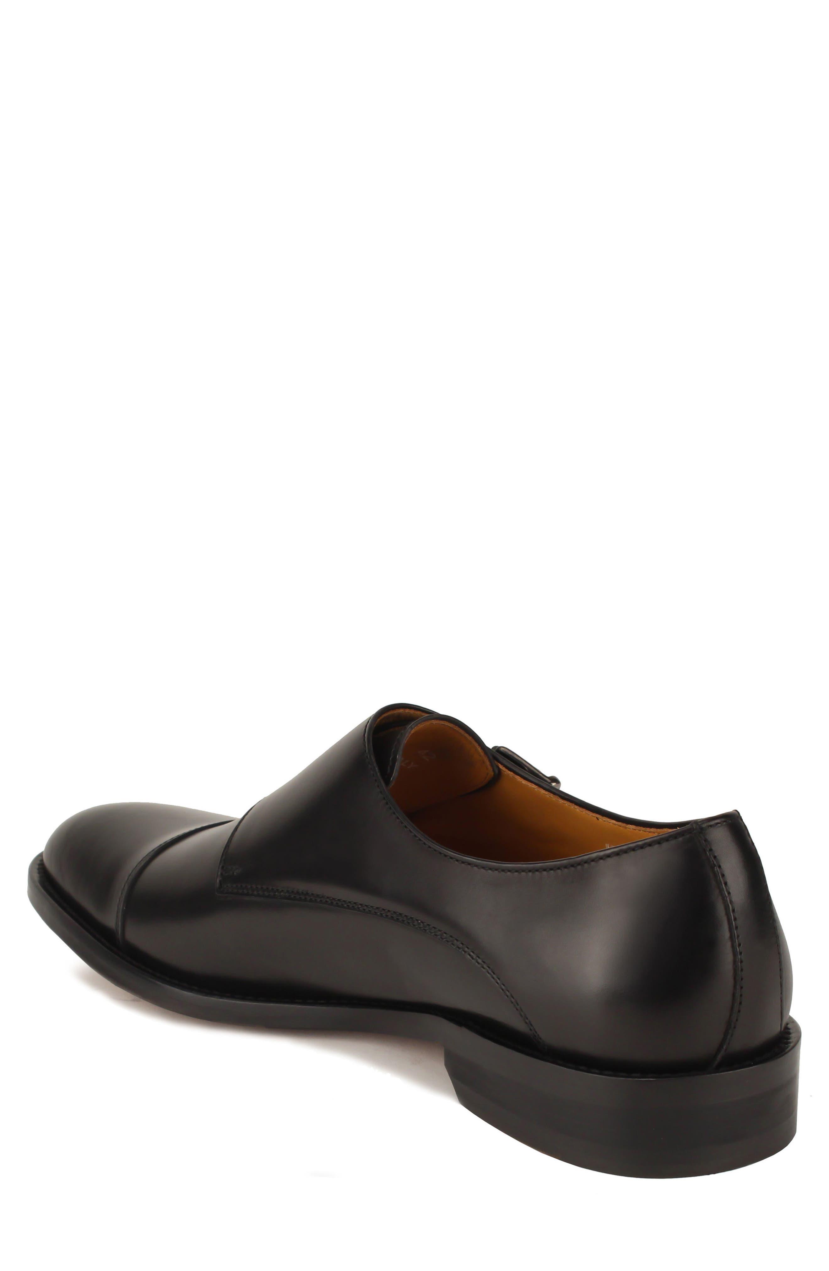 Jay Double Monk Strap Shoe,                             Alternate thumbnail 2, color,                             BLACK LEATHER