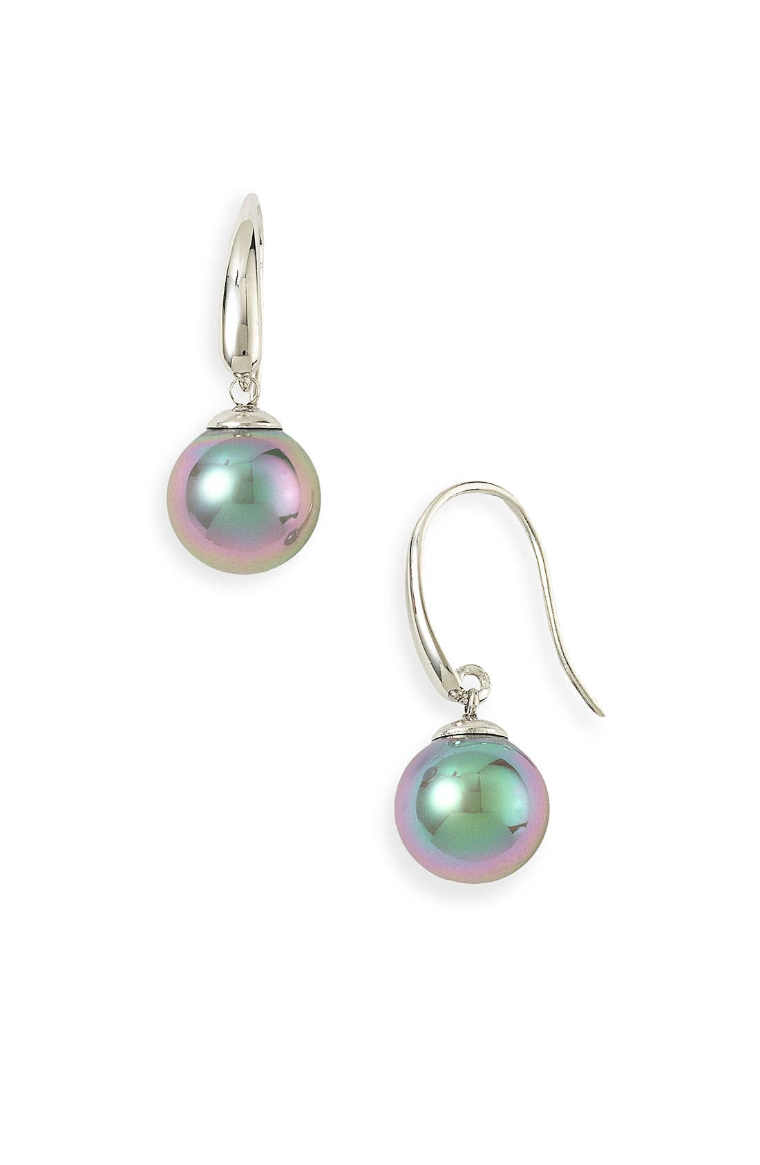 10mm Simulated Pearl Drop Earrings,                             Main thumbnail 1, color,                             GREY/ SILVER