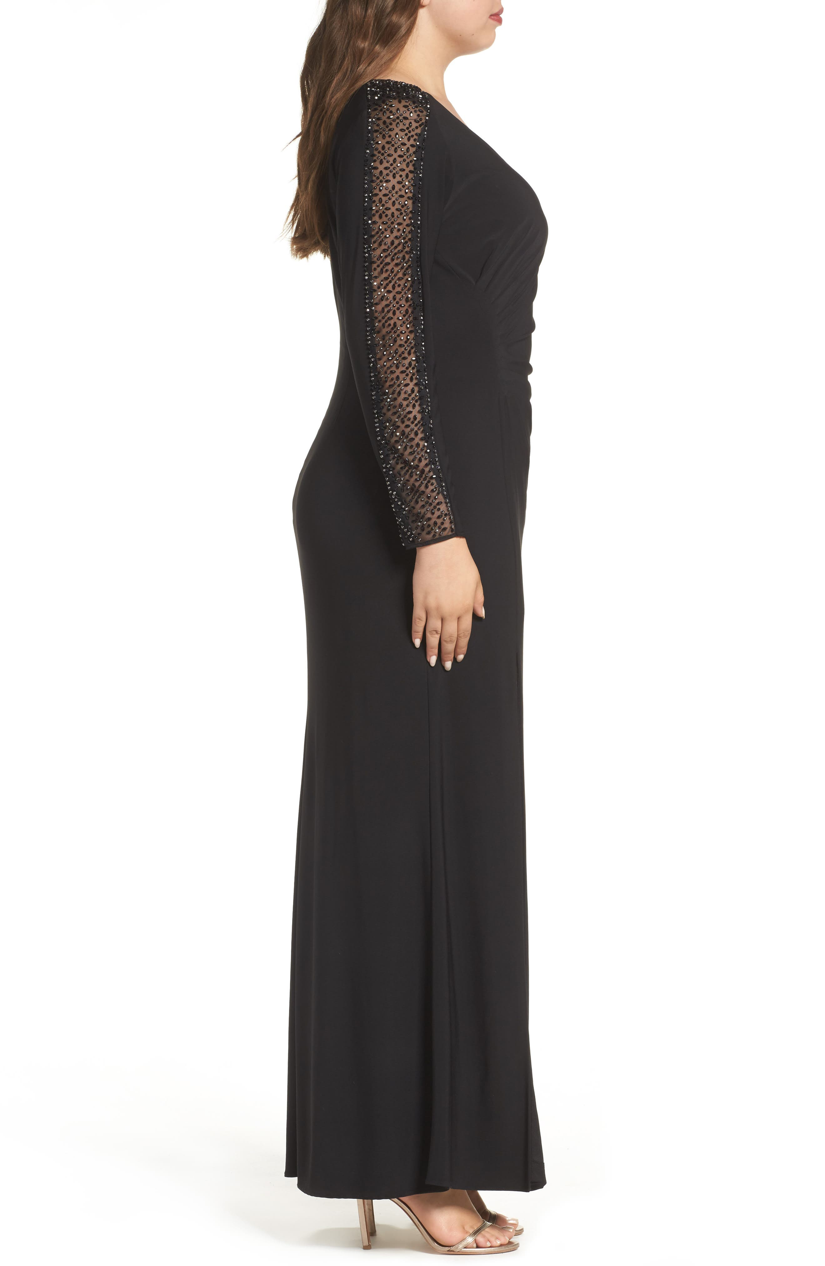 Embellished Jersey A-Line Gown,                             Alternate thumbnail 5, color,