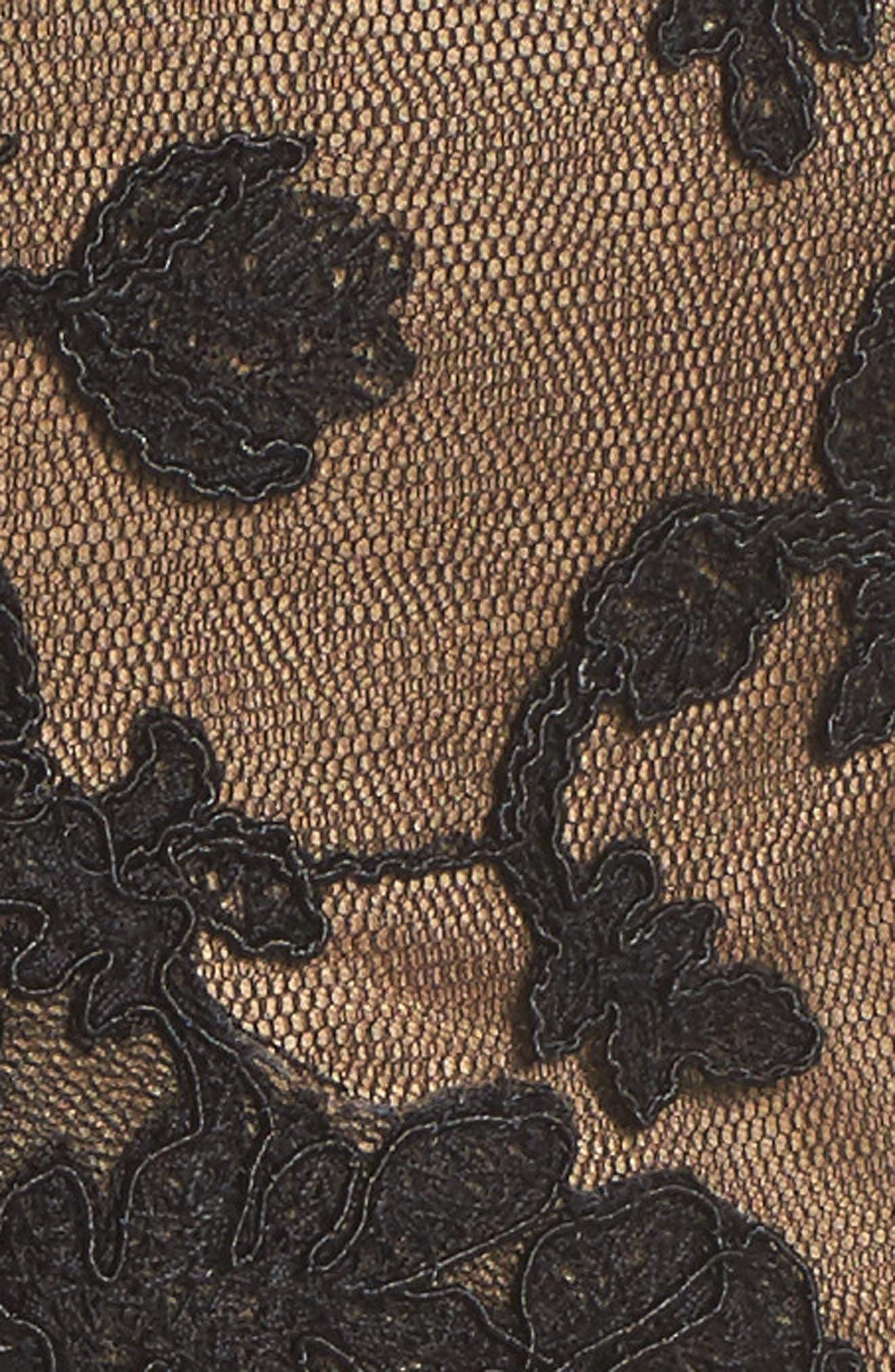 Lace & Crepe Gown,                             Alternate thumbnail 5, color,                             004