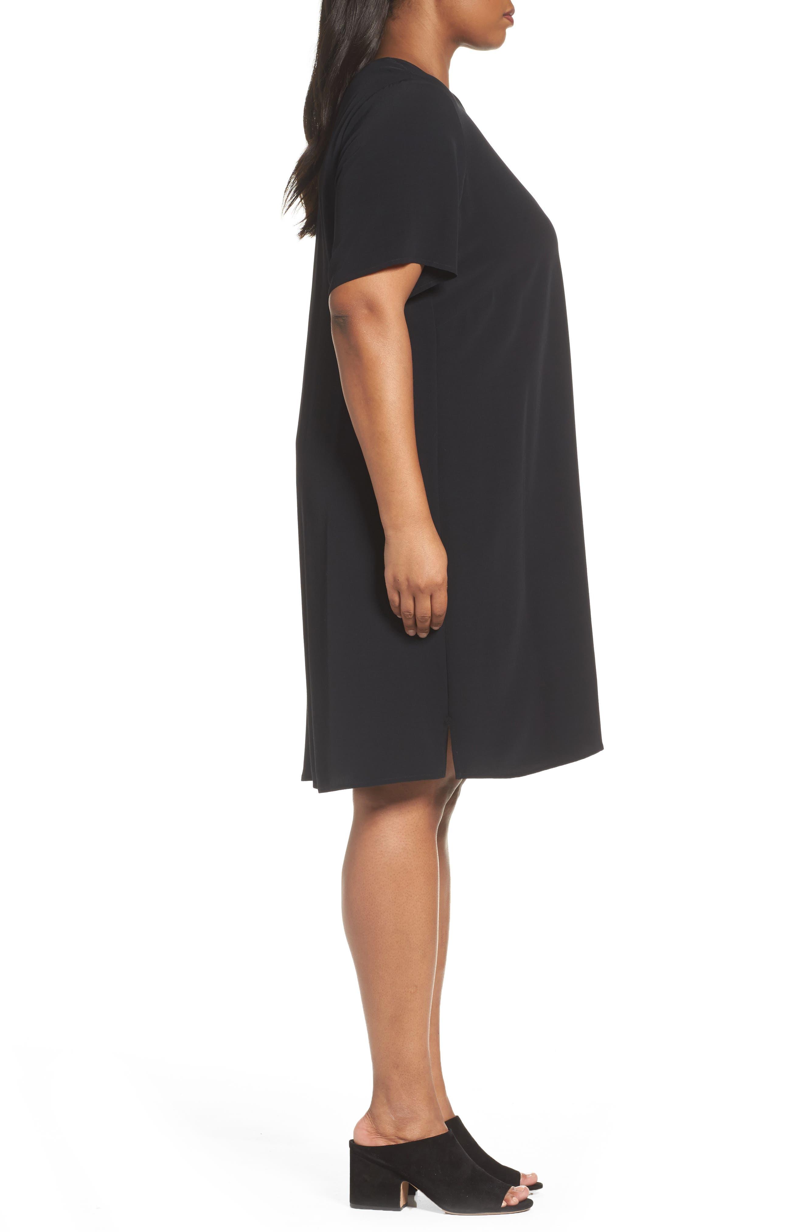 Tencel<sup>®</sup> Blend Jersey Shift Dress,                             Alternate thumbnail 3, color,                             001