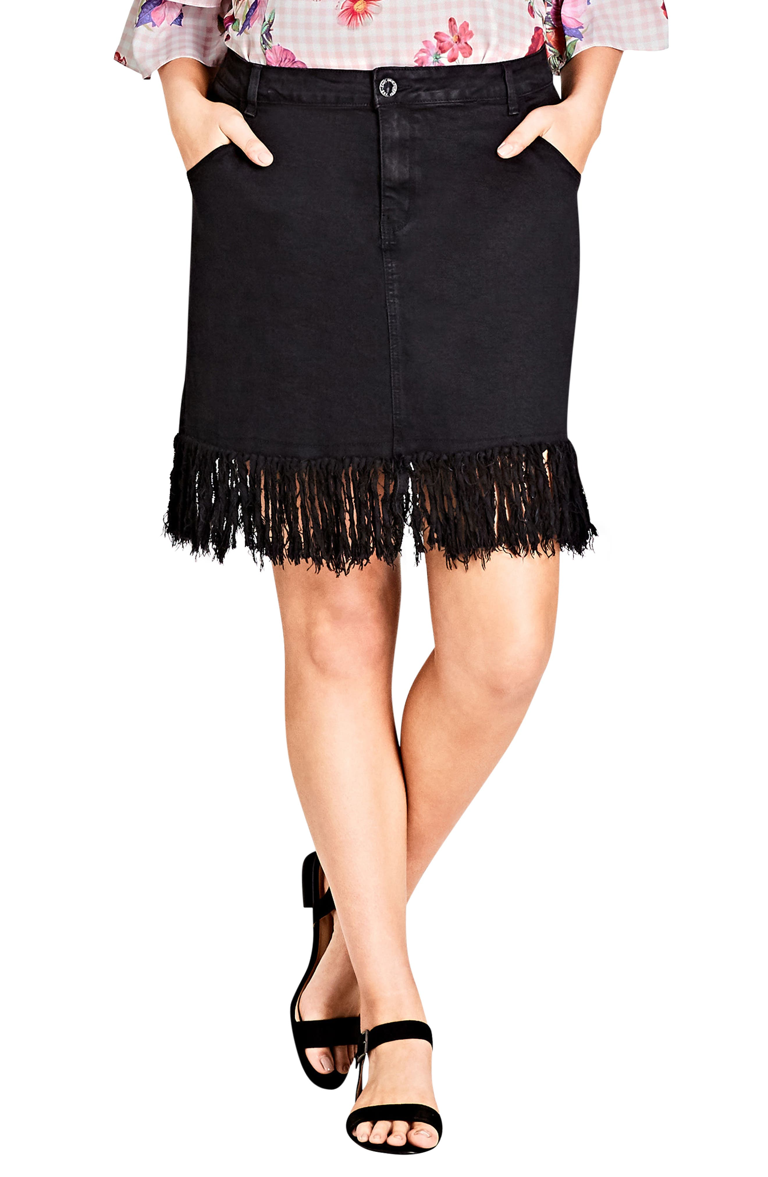 Frayed Hem Denim Skirt,                             Main thumbnail 1, color,                             BLACK