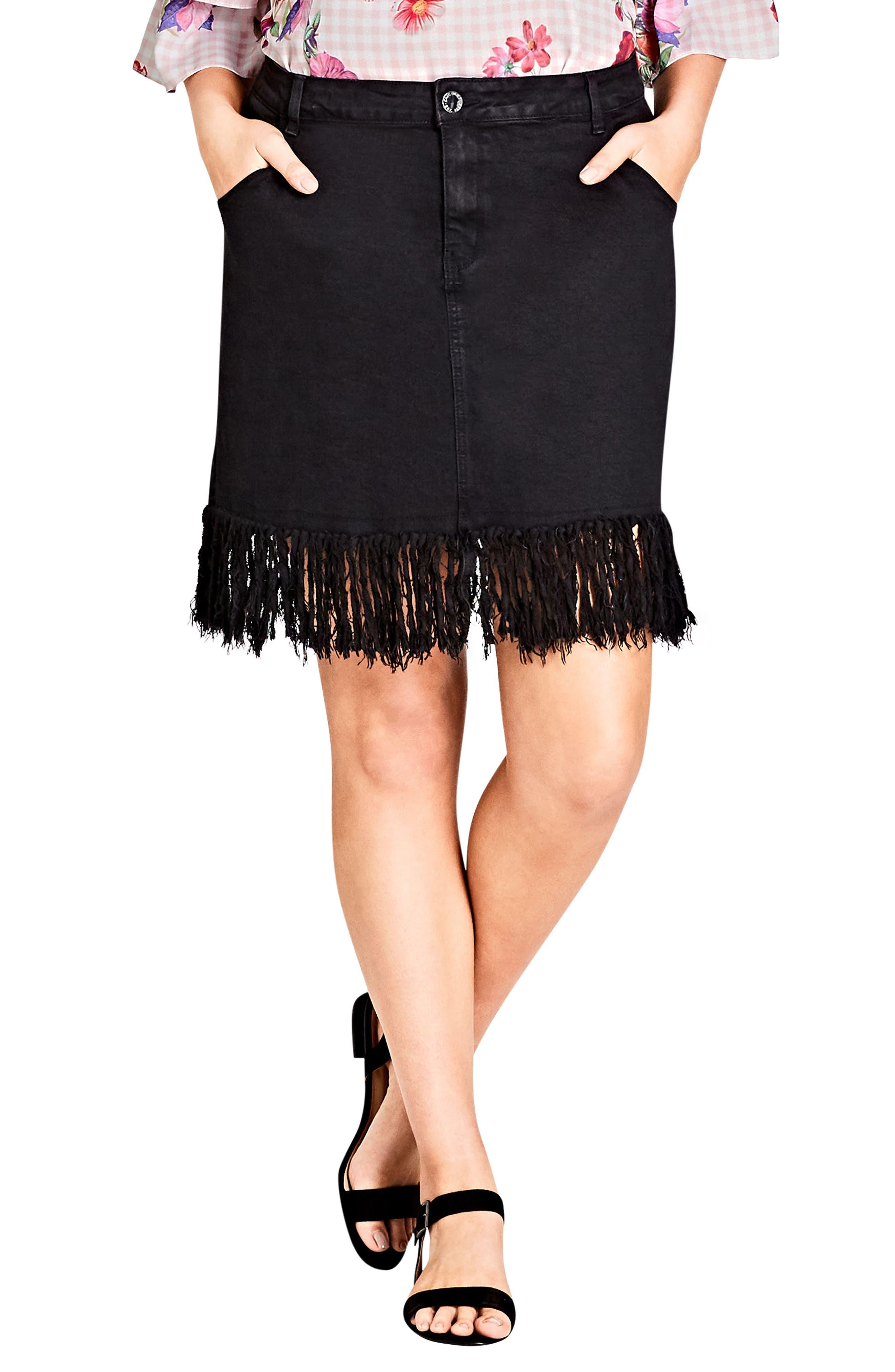 Frayed Hem Denim Skirt,                         Main,                         color, BLACK