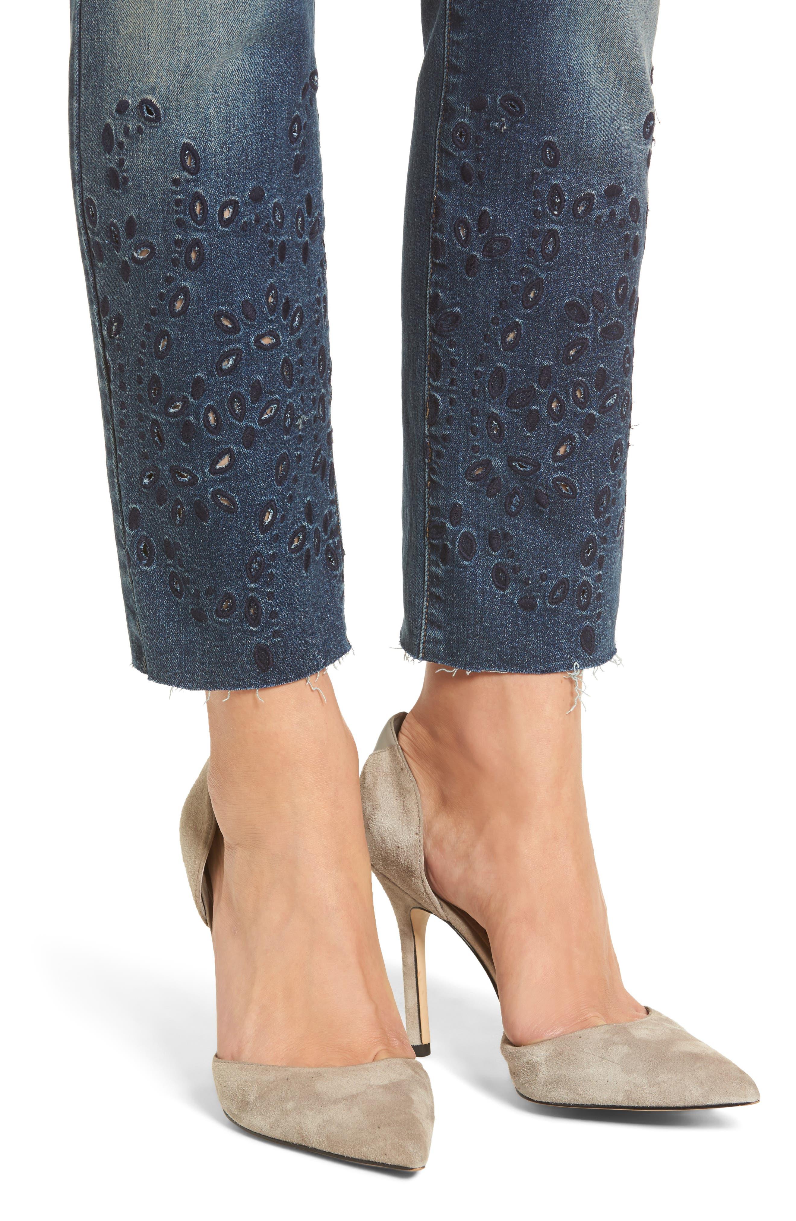 Taylor Ripped Eyelet Straight Leg Jeans,                             Alternate thumbnail 4, color,                             400