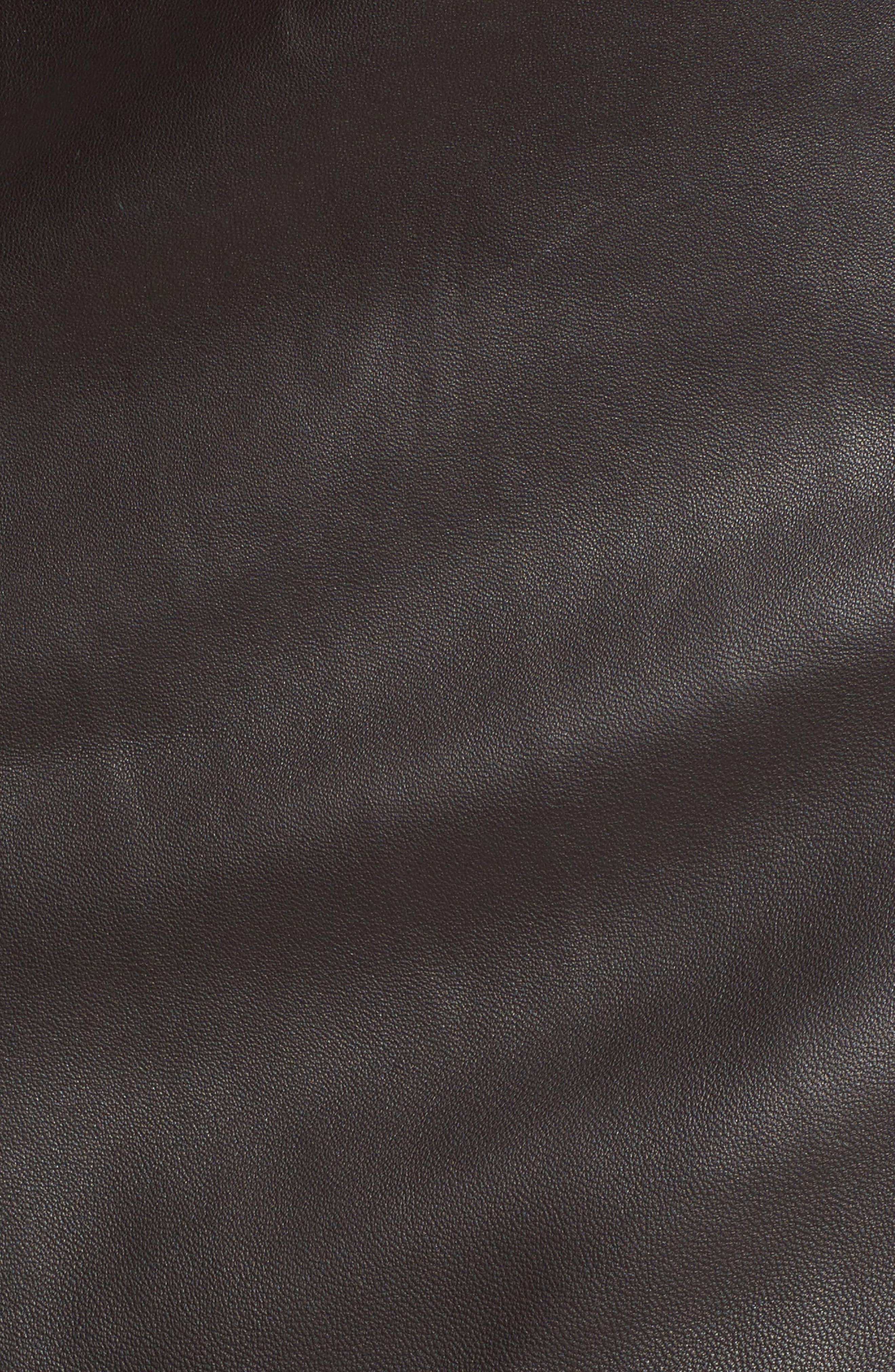 Sepama Leather Pencil Skirt,                             Alternate thumbnail 5, color,                             001