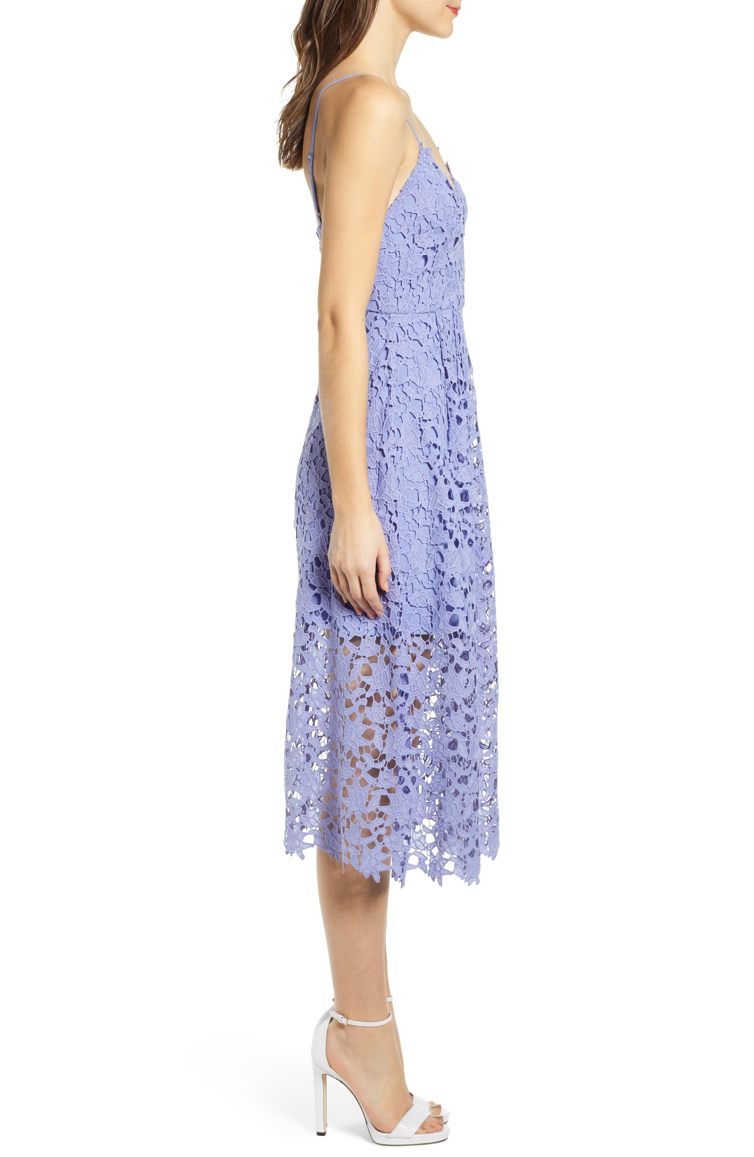 ASTR THE LABEL,                             Lace Midi Dress,                             Alternate thumbnail 3, color,                             LAVENDER