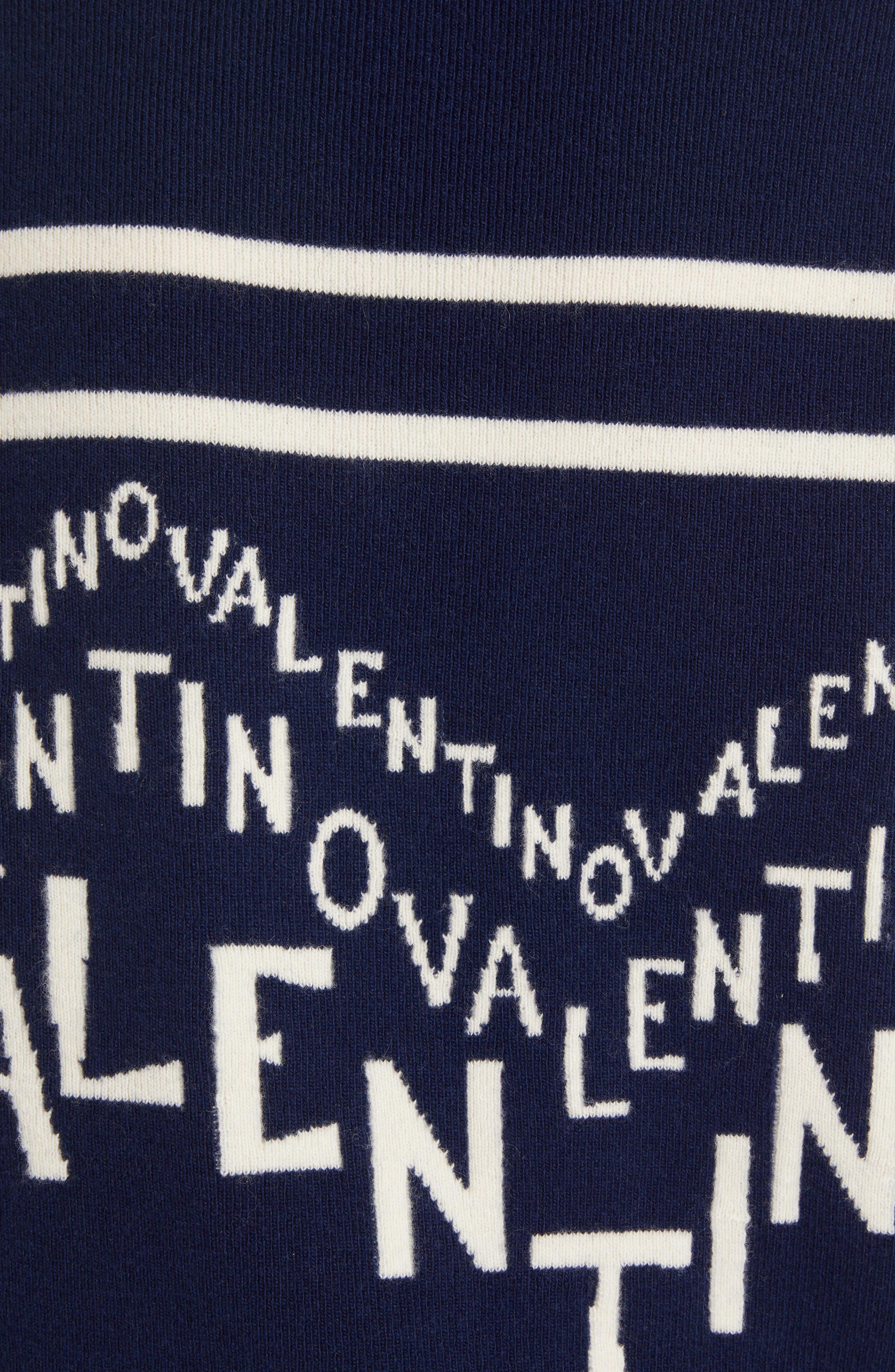 VALENTINO,                             Chevron Logo Wool & Cashmere Sweater,                             Alternate thumbnail 5, color,                             ALMOND/ PURE BLUE