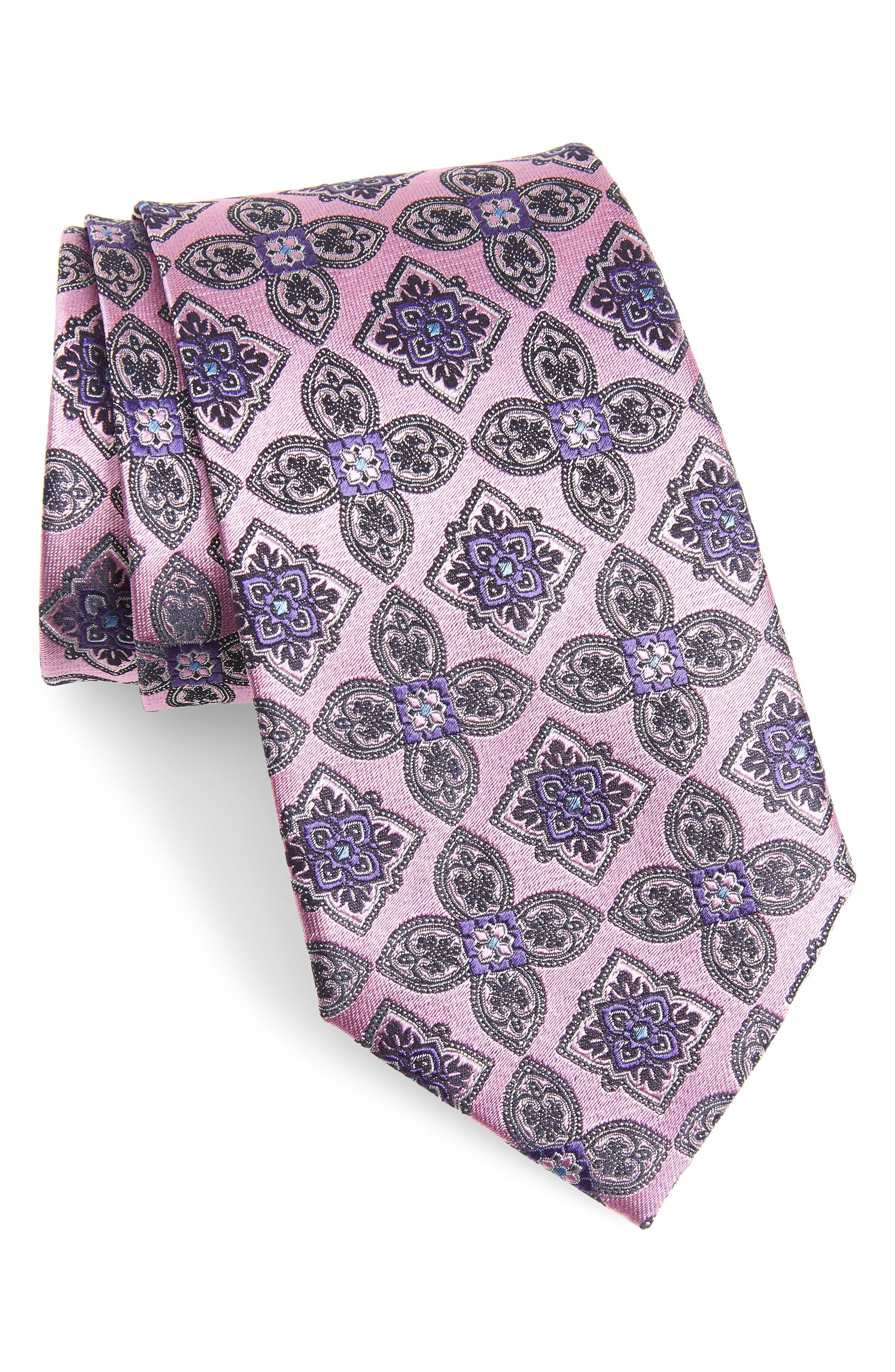 Medallion Silk Tie,                         Main,                         color, PINK FAN