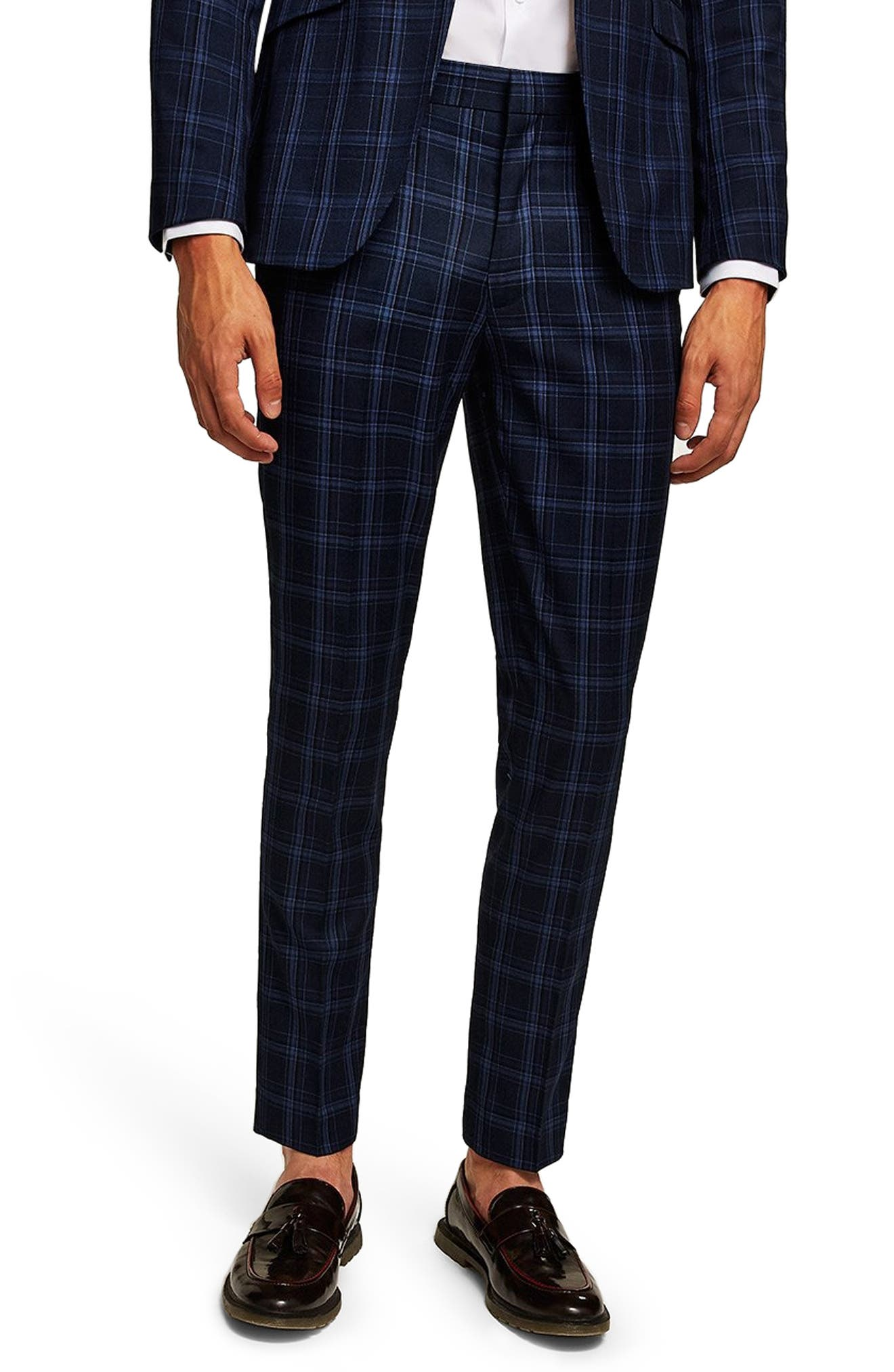 Skinny Fit Check Trousers,                         Main,                         color, BLUE