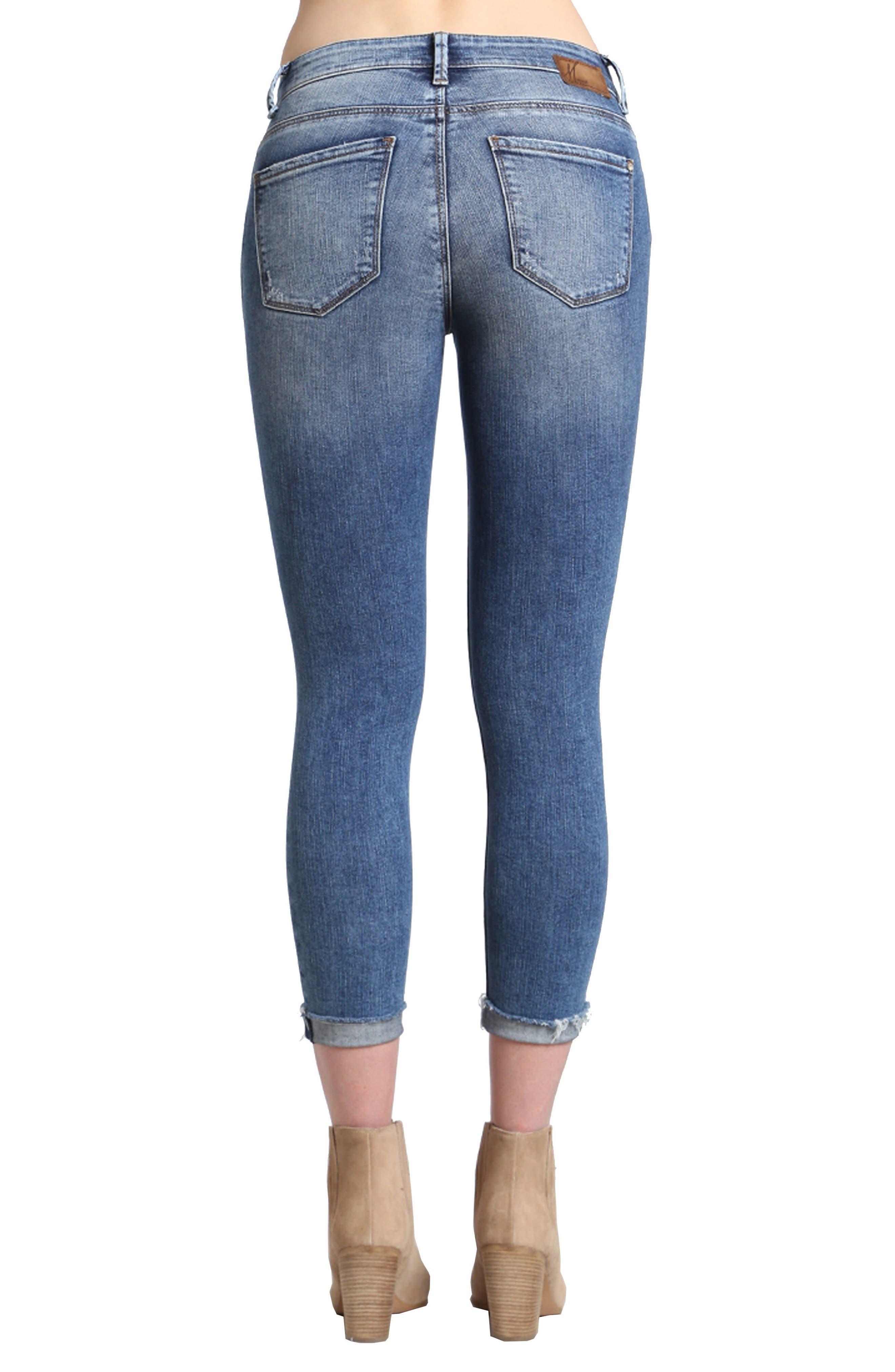 Tess Ripped Skinny Jeans,                             Alternate thumbnail 2, color,                             MID INDIGO VINTAGE