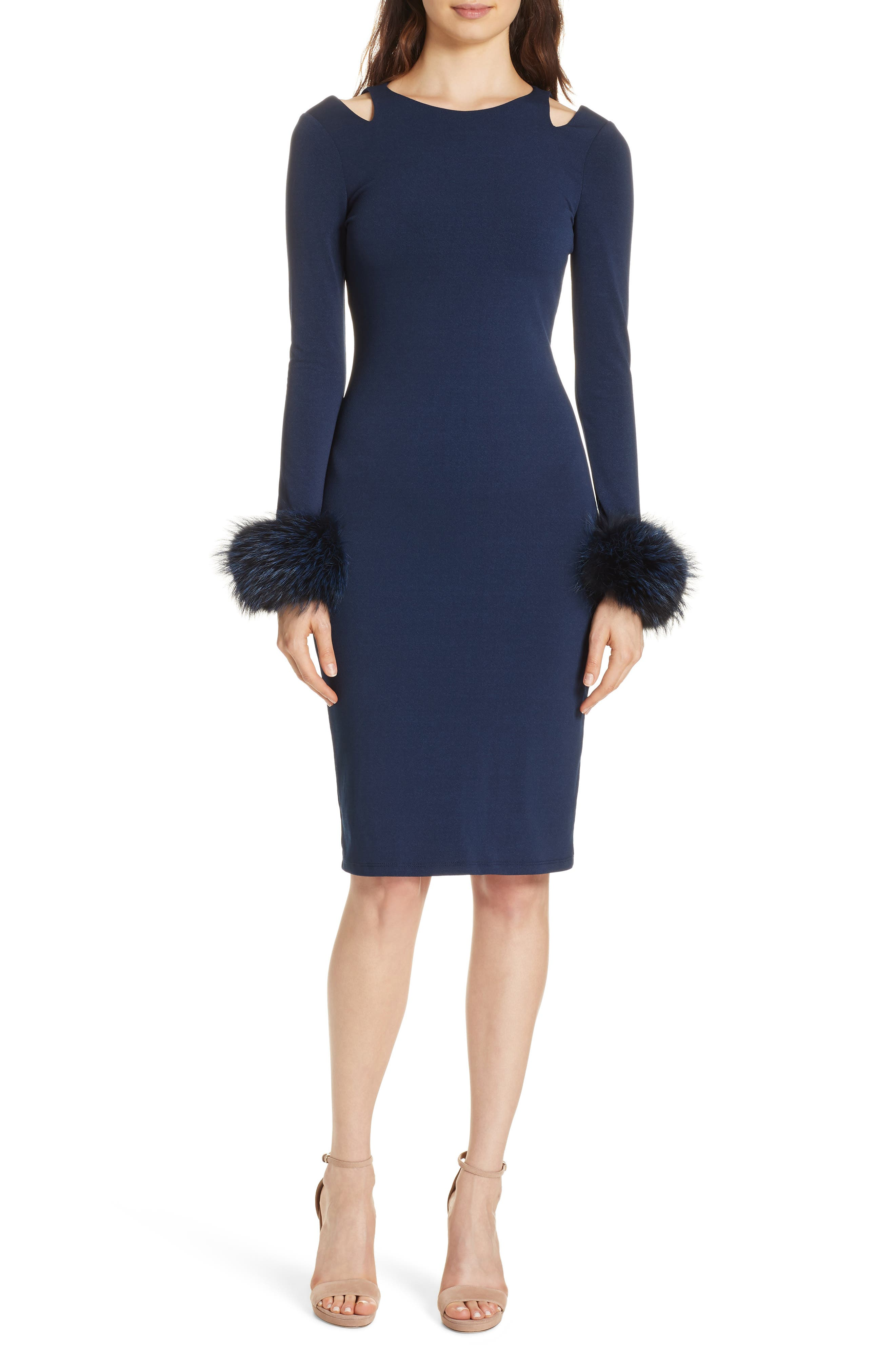 Tabitha Slit-Shoulder Cocktail Dress W/ Fox Fur Cuffs in Blue