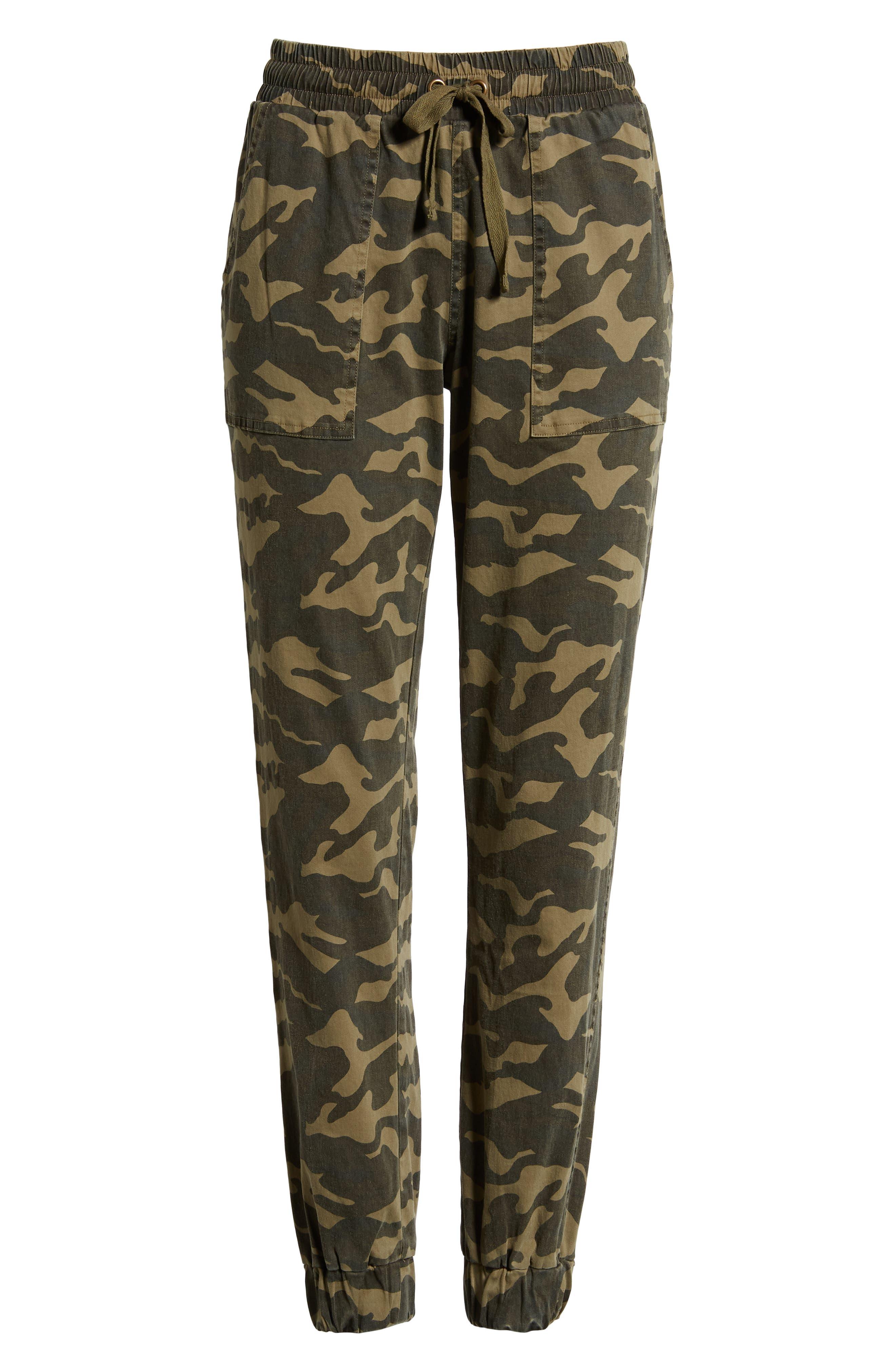Camo Patch Pocket Jogger Stretch Cotton Pants,                             Alternate thumbnail 6, color,                             345
