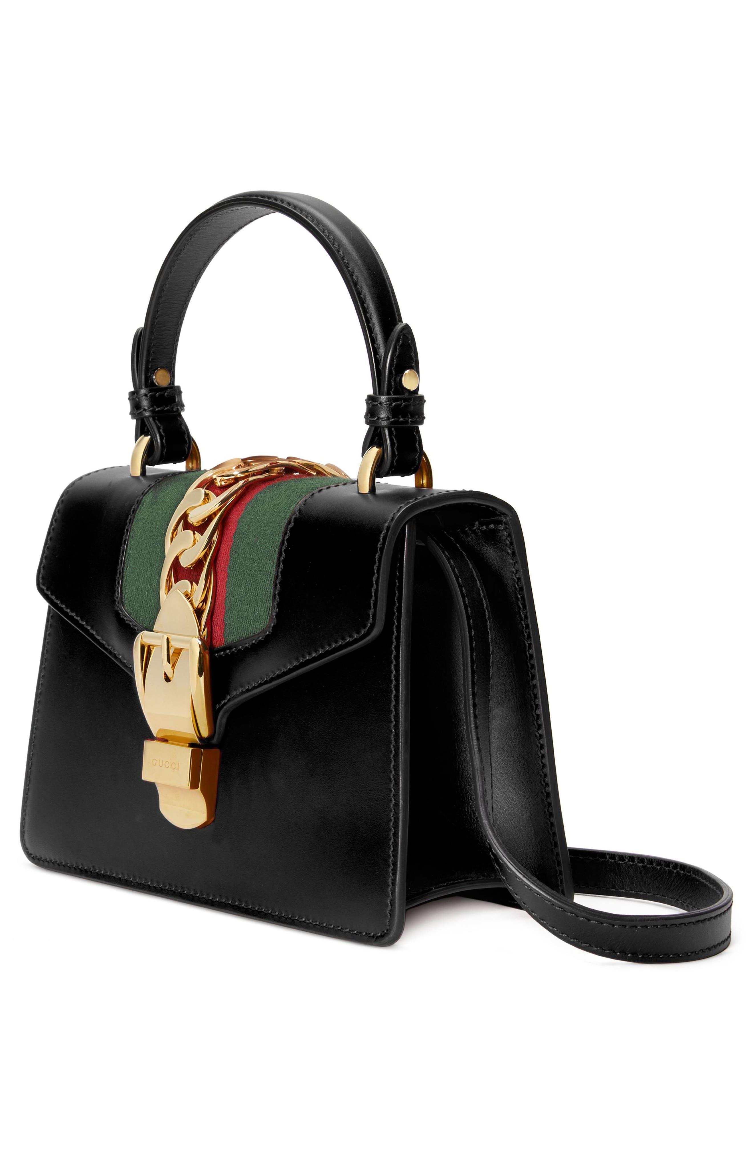 Mini Sylvie Top Handle Leather Shoulder Bag,                             Alternate thumbnail 5, color,                             8639 NERO/VRV