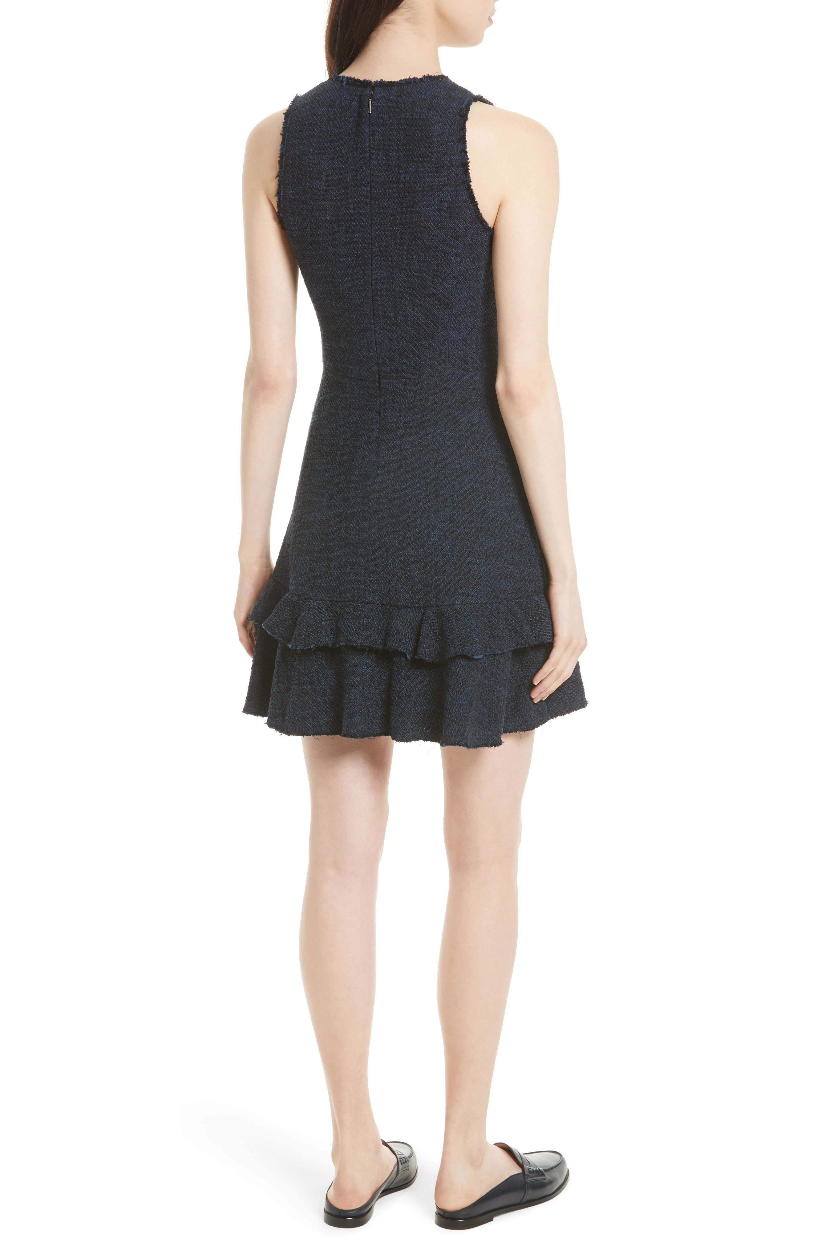 Ruffle Hem Tweed Dress,                             Alternate thumbnail 2, color,                             491