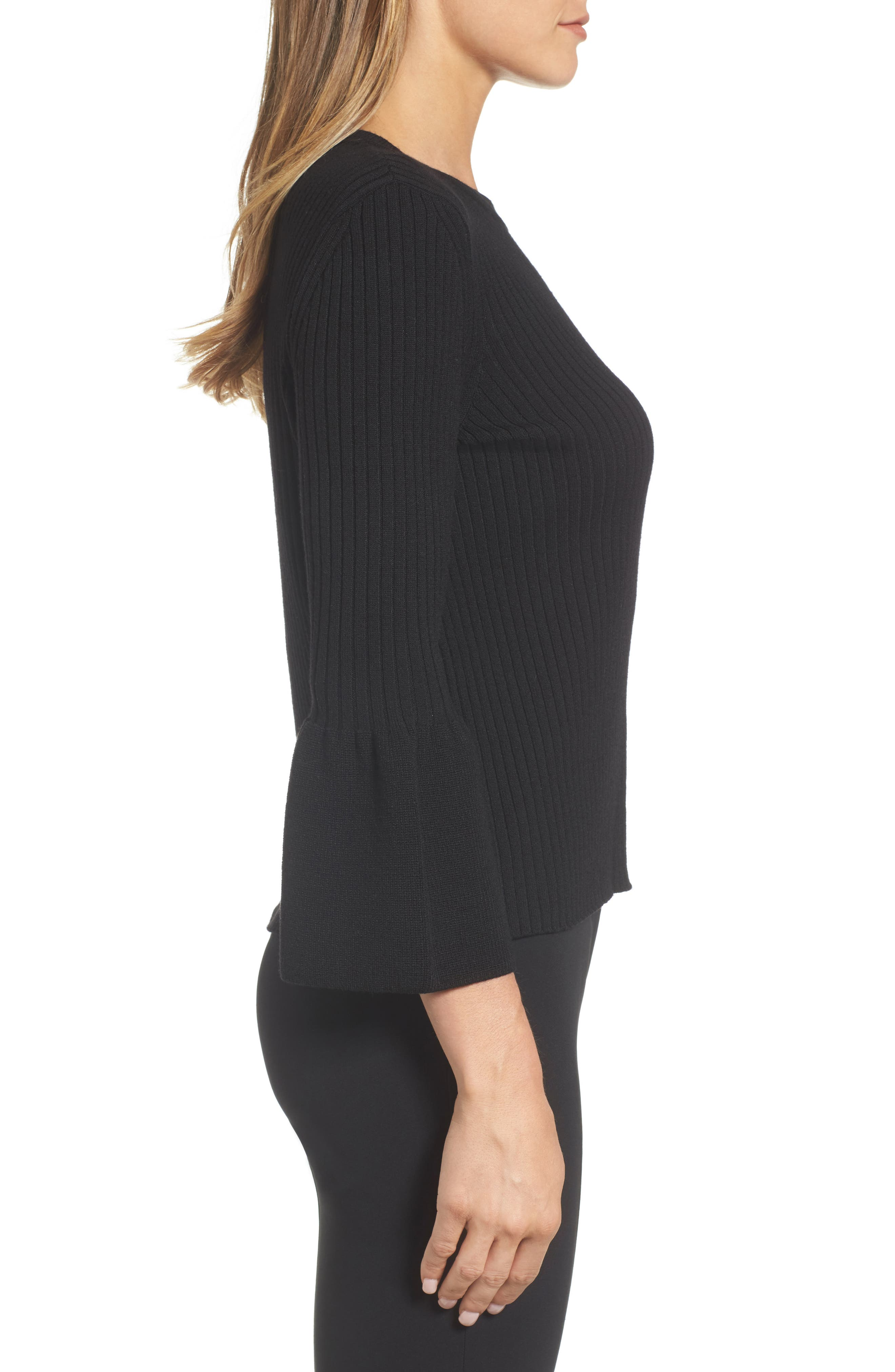 Fantasia Ribbed Bell Sleeve Sweater,                             Alternate thumbnail 3, color,                             001