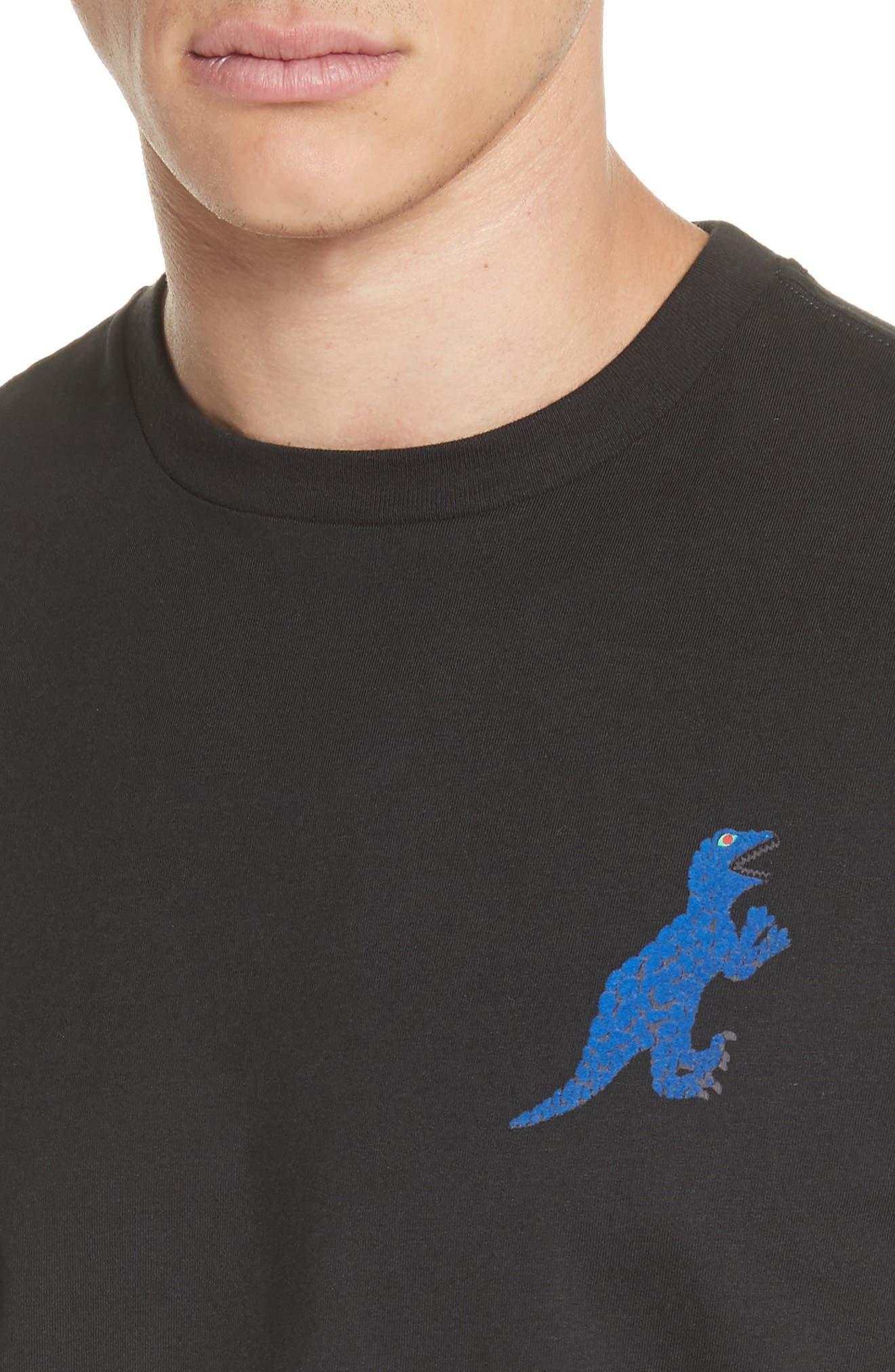 Dino Graphic T-Shirt,                             Alternate thumbnail 4, color,                             BLACK