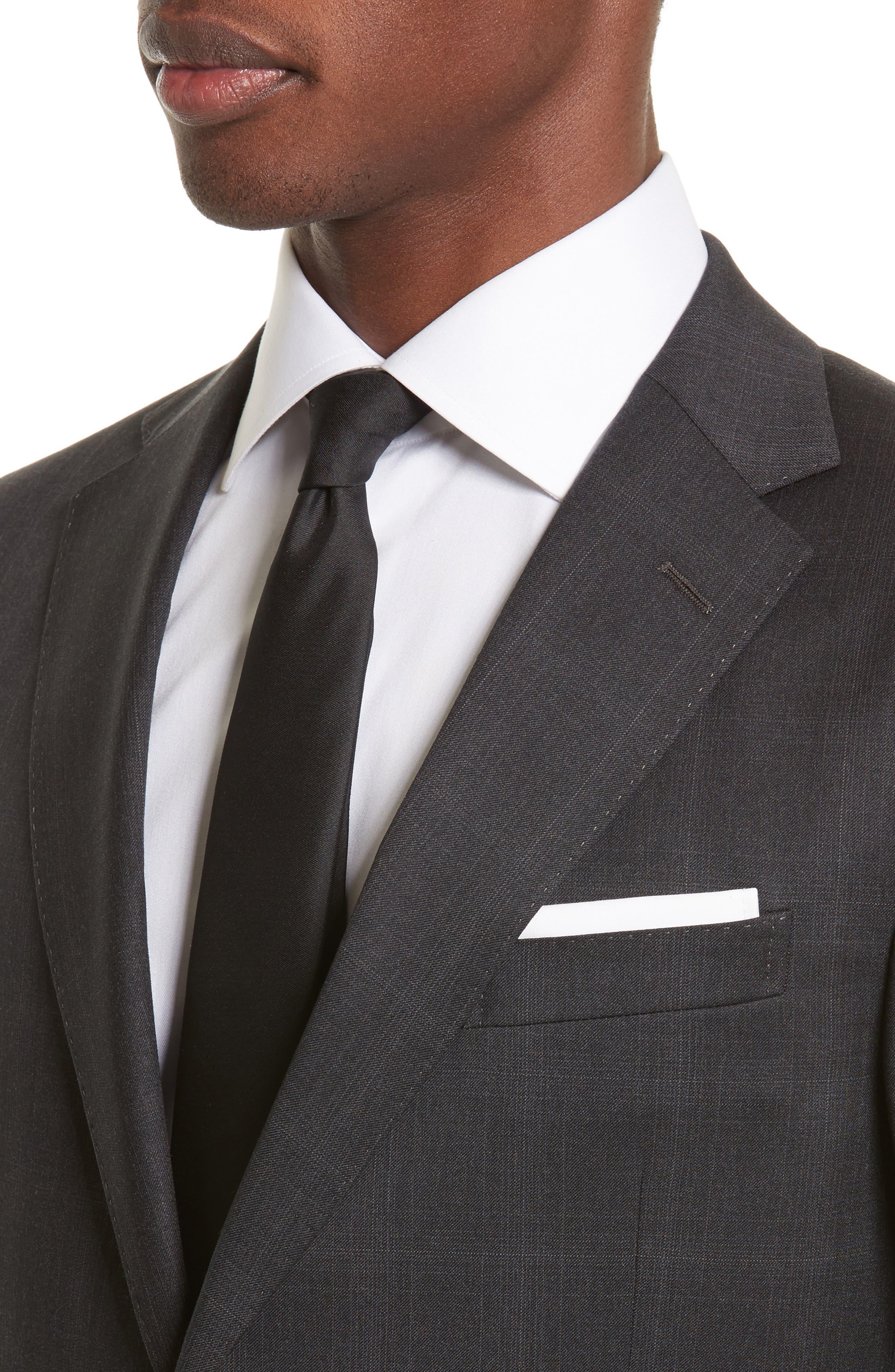 Drop 7 Trim Fit Plaid Wool Suit,                             Alternate thumbnail 4, color,                             026