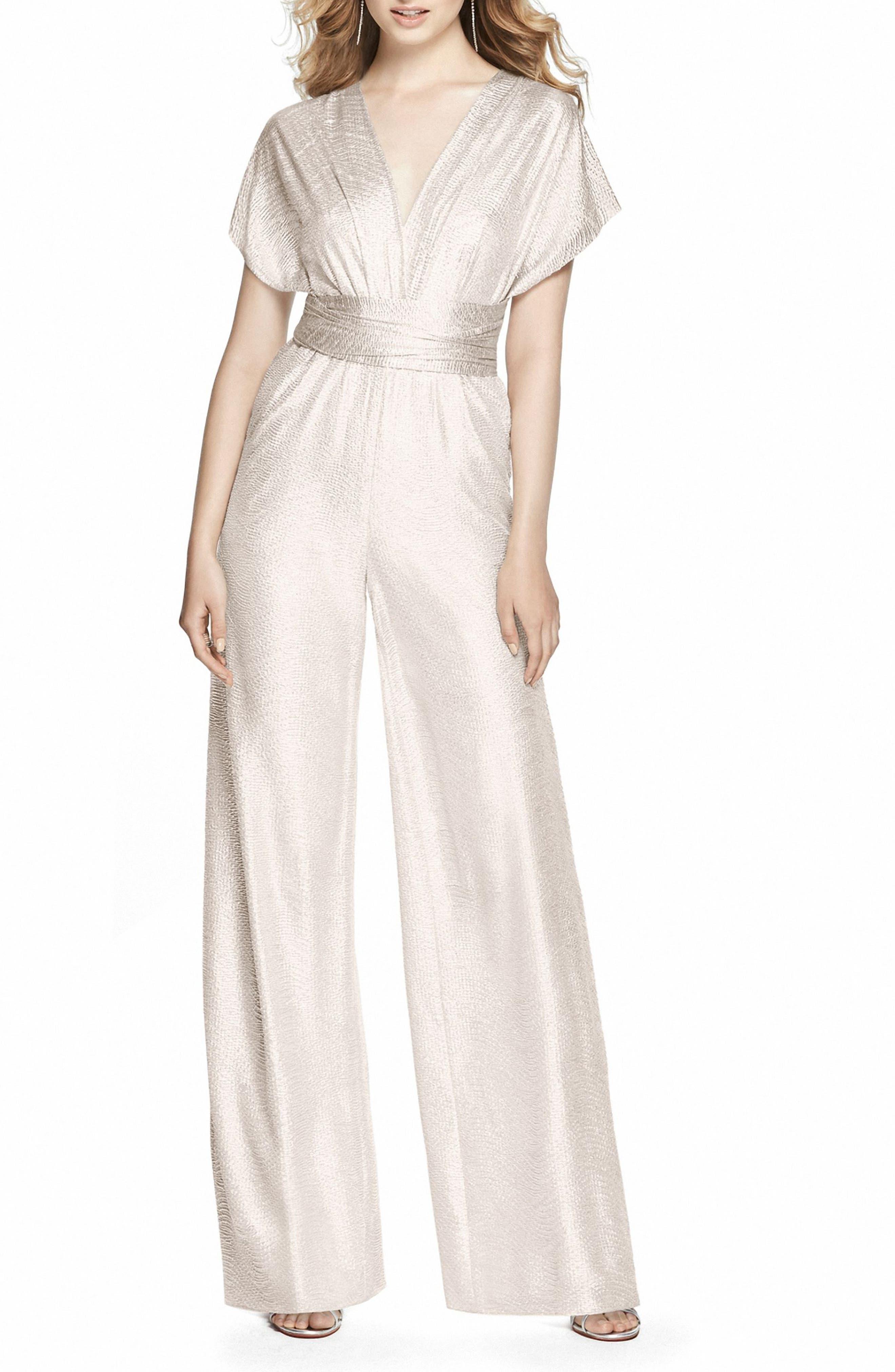 Vintage Inspired Wedding Dress | Vintage Style Wedding Dresses Womens Dessy Collection Twist Convertible Wide Leg Jumpsuit Size Medium - Metallic $168.00 AT vintagedancer.com
