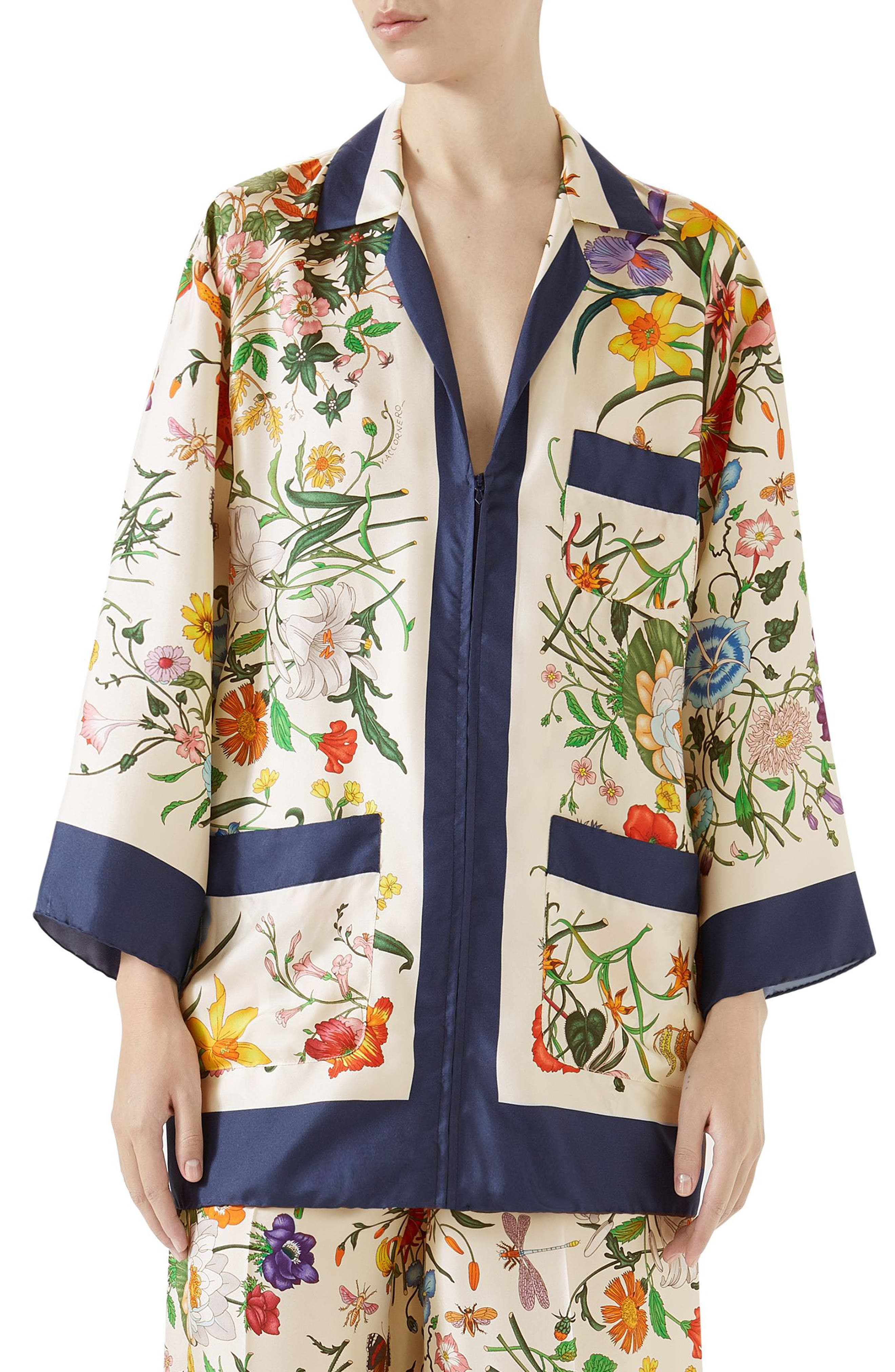 Floral Print Silk Foulard Shirt,                         Main,                         color, BLUE/ IVORY PRINT