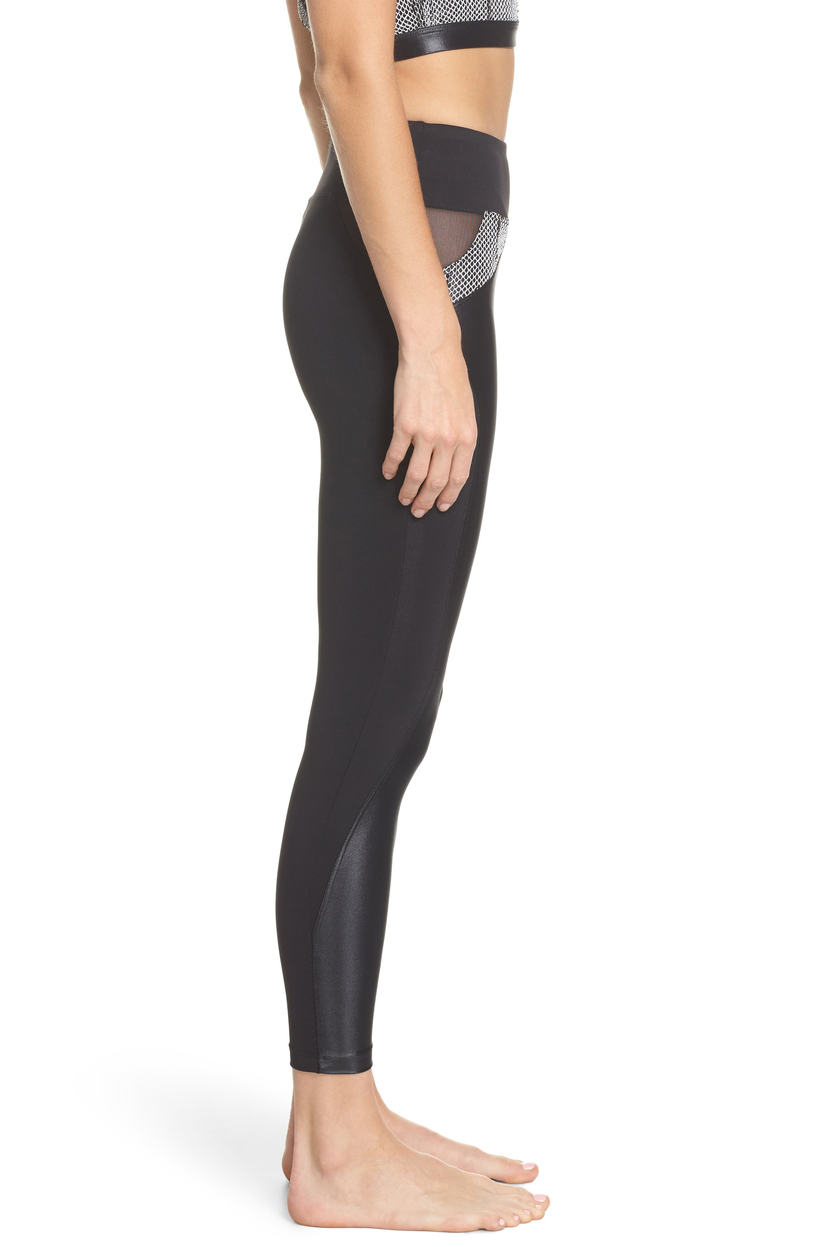 Waves High Waist Leggings,                             Alternate thumbnail 3, color,                             001