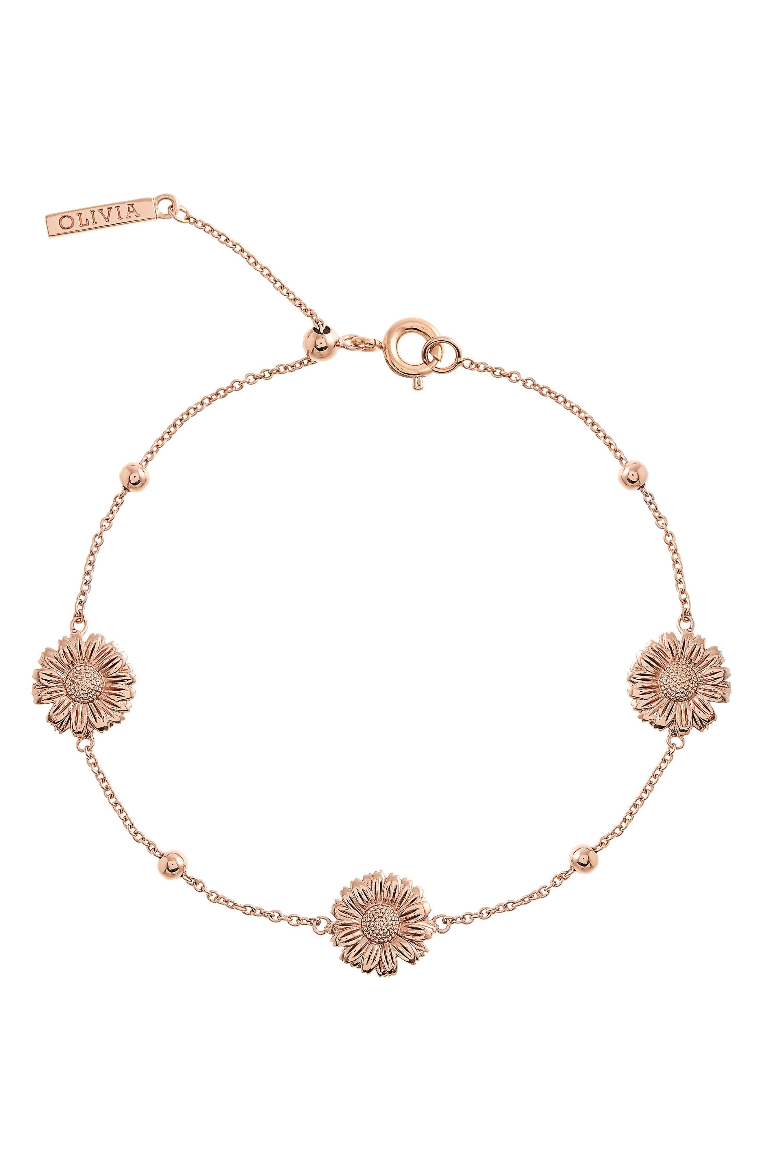 3D Daisy Ball Chain Bracelet,                             Main thumbnail 1, color,                             ROSE GOLD