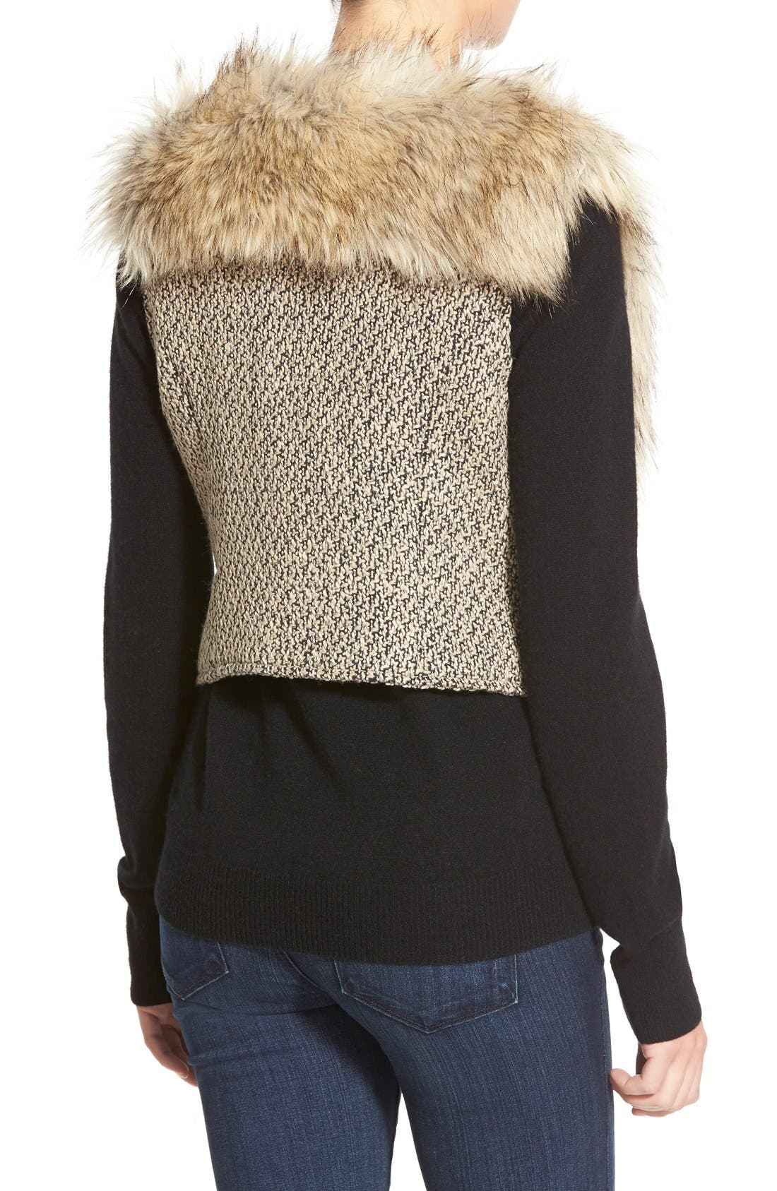 Tweed & Faux Fur Vest,                             Alternate thumbnail 4, color,                             200