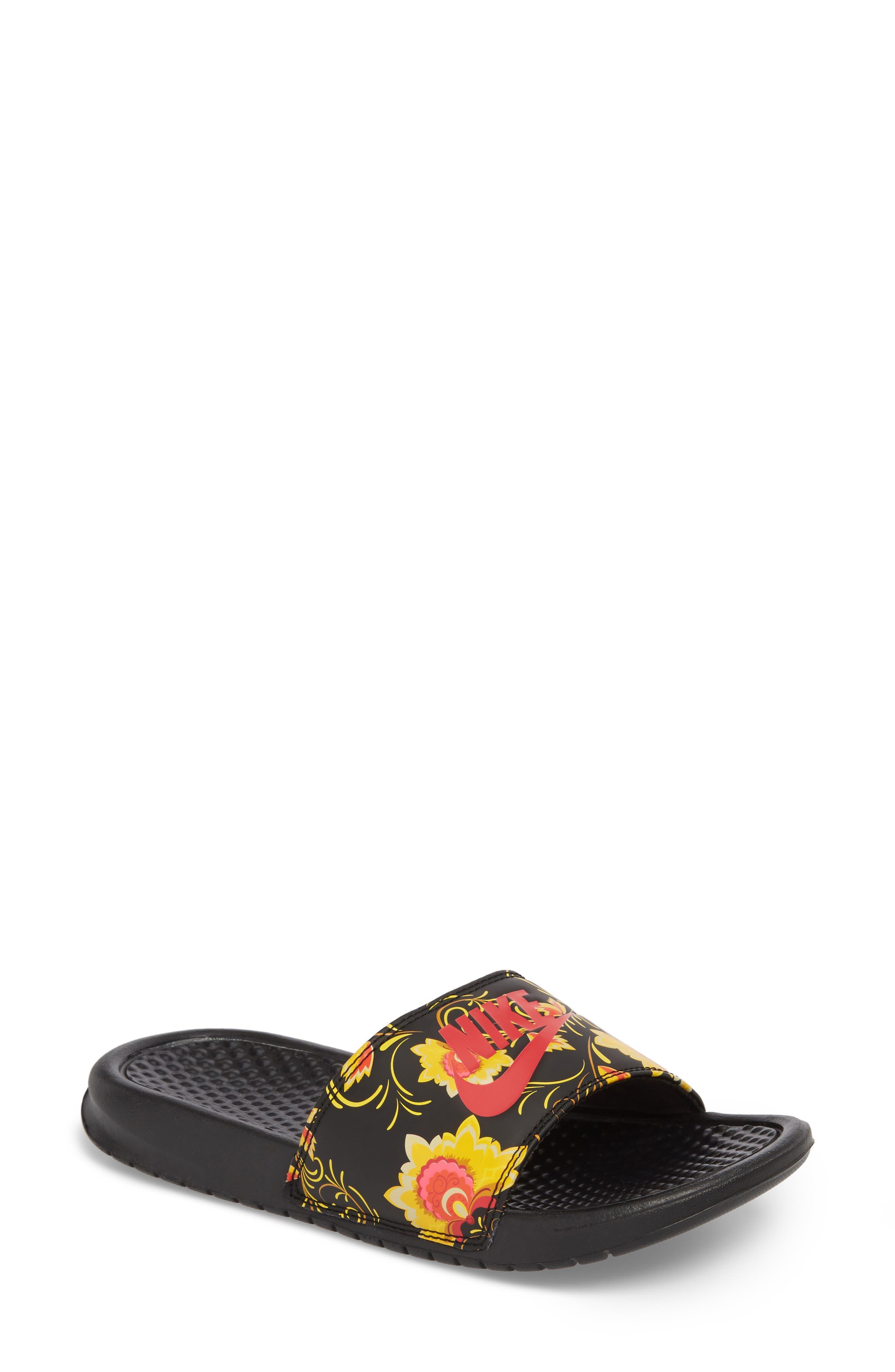 Benassi Floral Print Slide Sandal,                         Main,                         color, 600