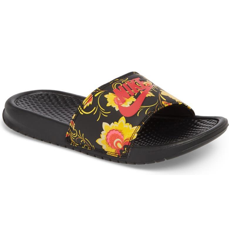Nike Benassi Floral Print Slide Sandal (Women)  7542217094f5
