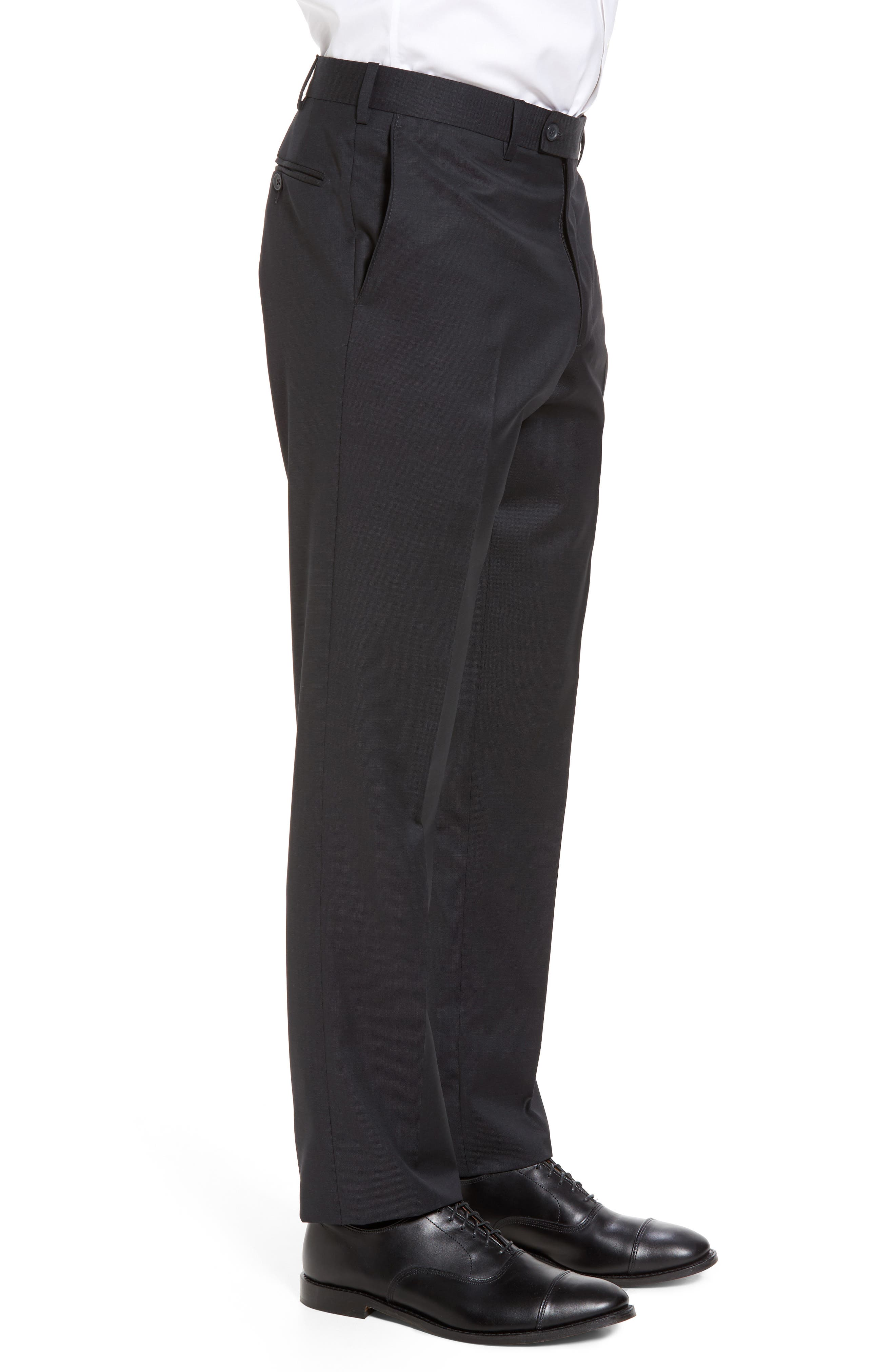 Flat Front Solid Wool Trousers,                             Alternate thumbnail 4, color,                             010