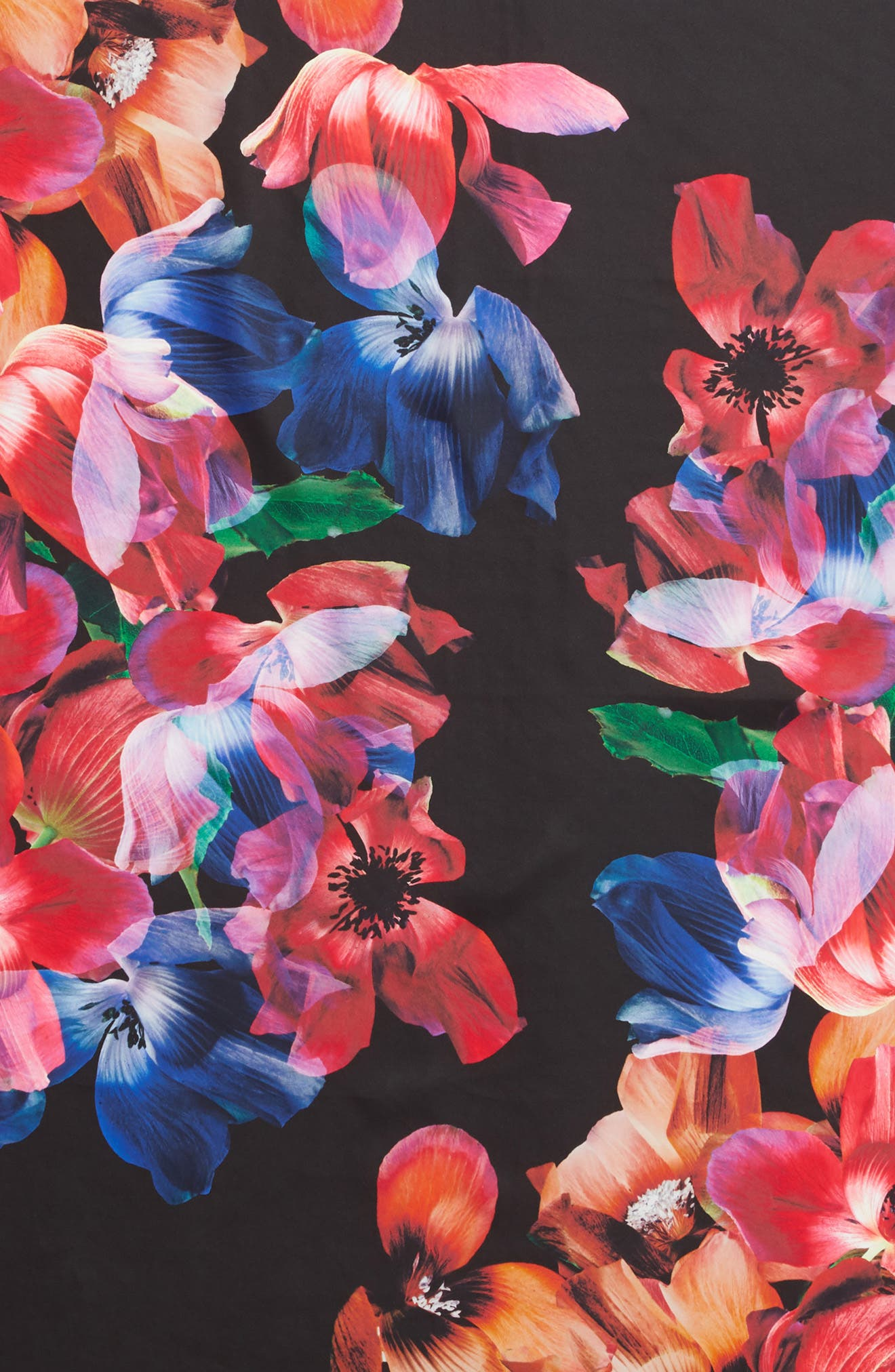 Floral Print Square Silk Scarf,                             Alternate thumbnail 4, color,                             MULTI