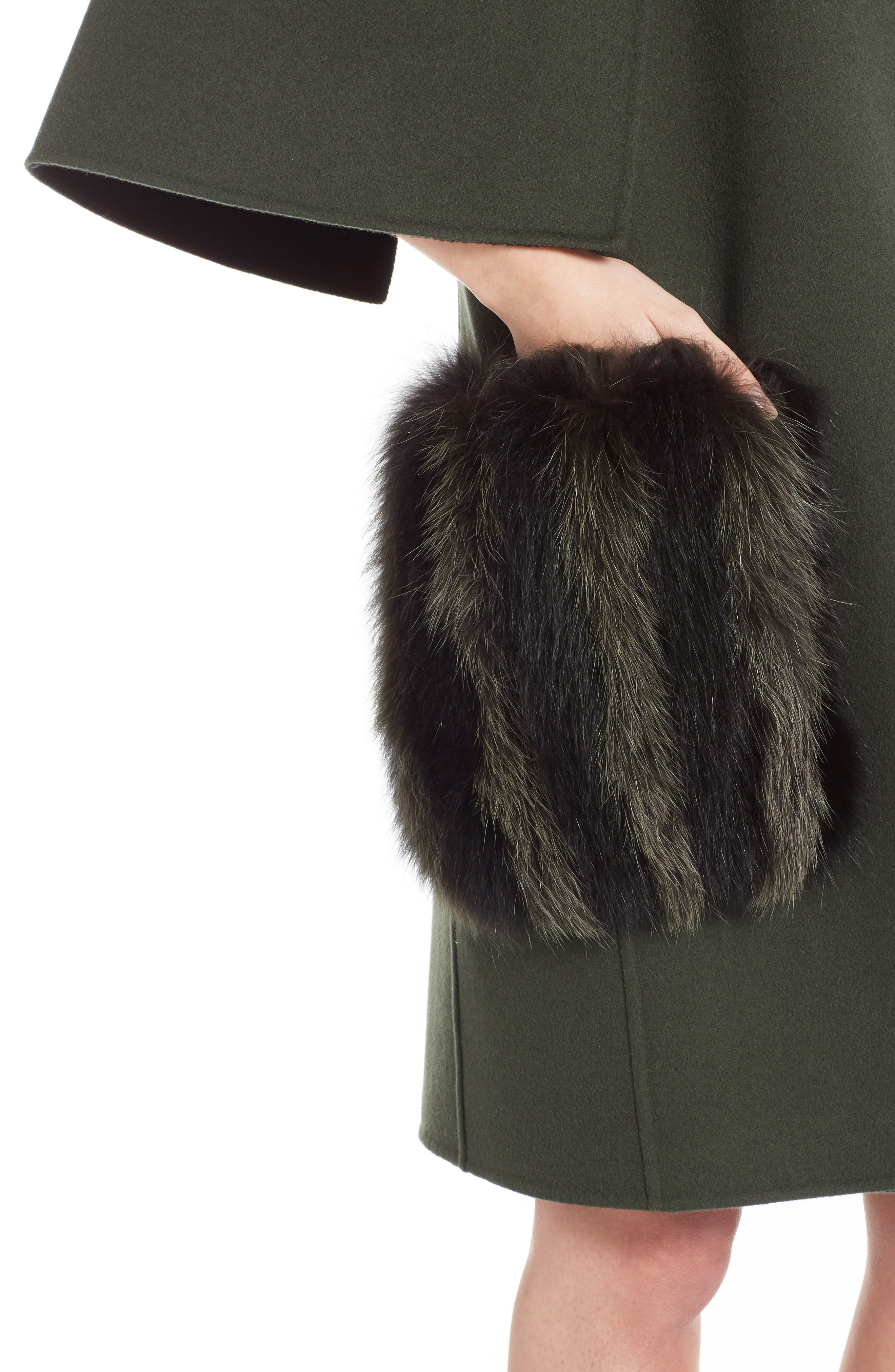 Wool Cape Coat with Genuine Fox Fur Pockets,                             Alternate thumbnail 4, color,