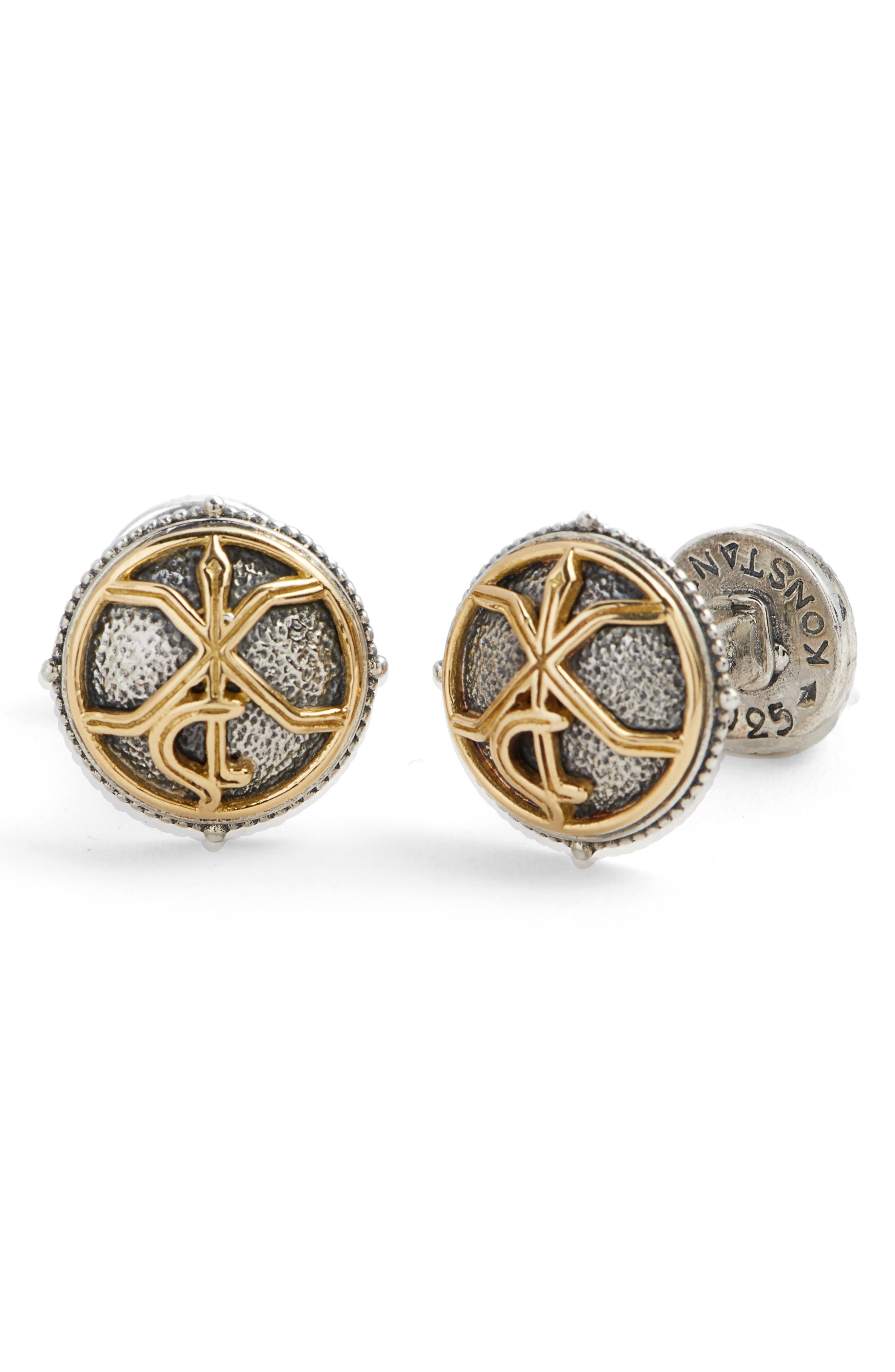 Stavros Round Cuff Links,                         Main,                         color, SILVER/ GOLD