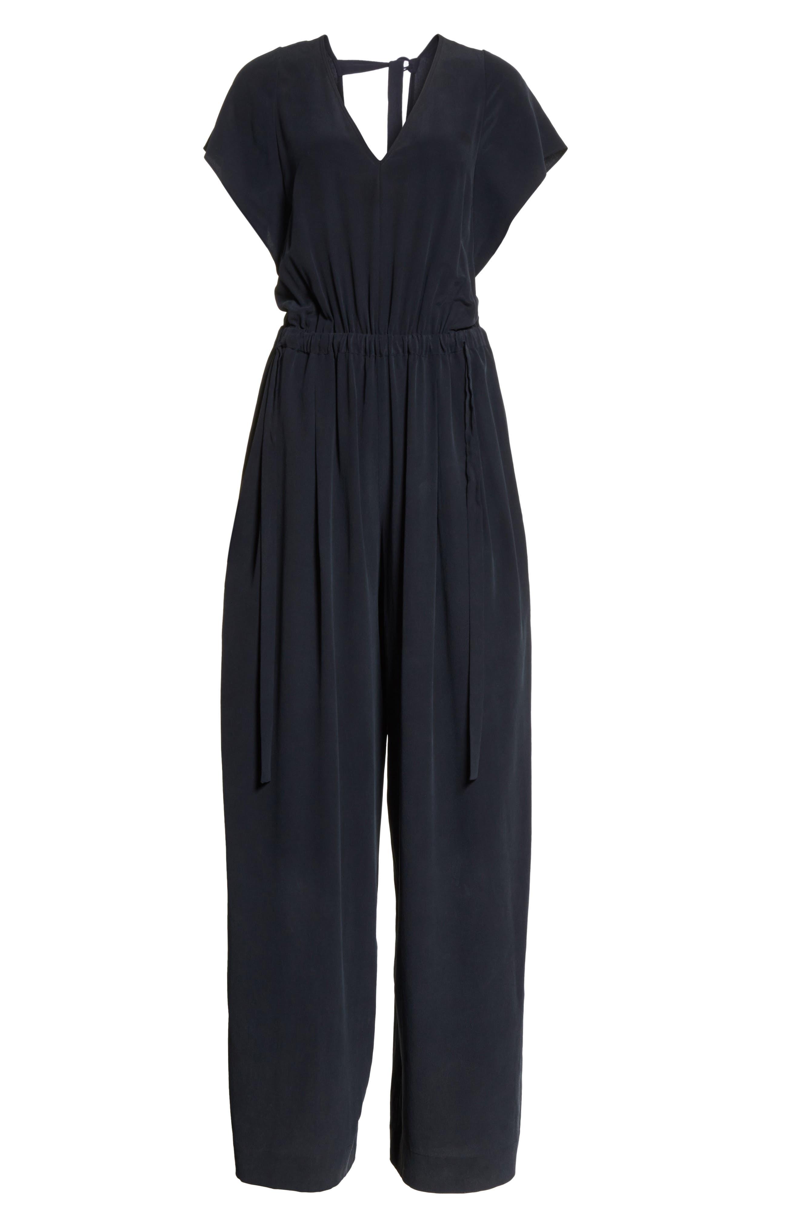 Flutter Sleeve Open Back Silk Jumpsuit,                             Alternate thumbnail 6, color,                             403