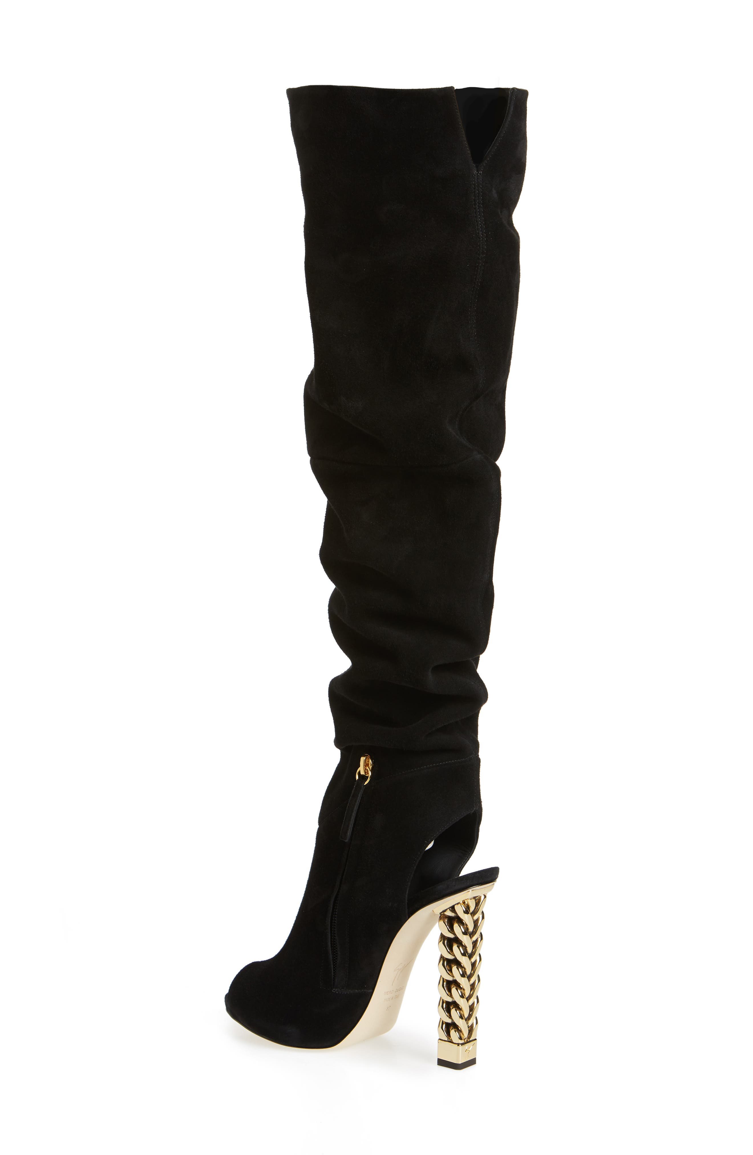 x Rita Ora Chain Heel Over the Knee Boot,                             Alternate thumbnail 2, color,                             BLACK