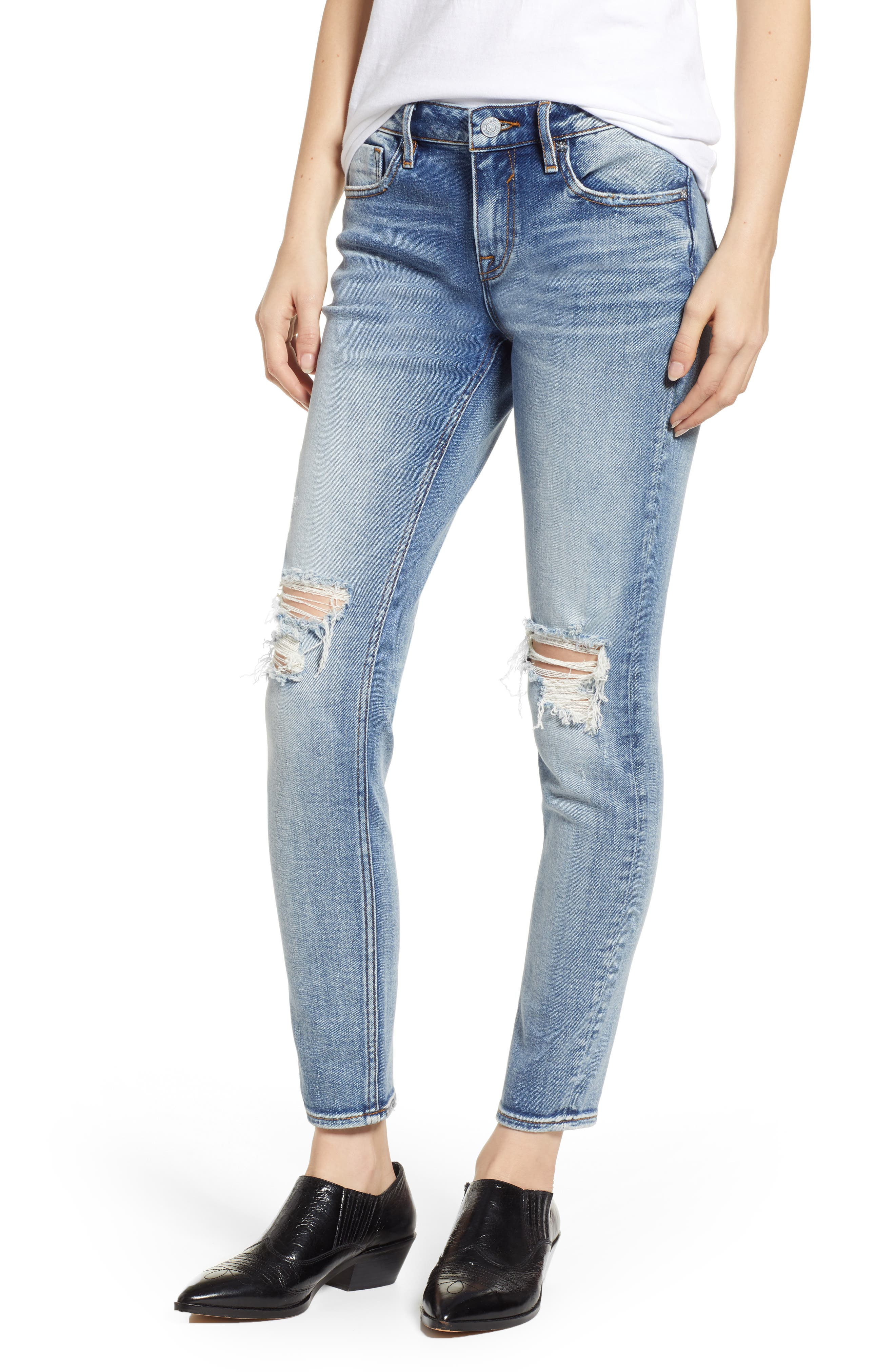 Jagger Ripped Skinny Jeans, Main, color, LIGHT WASH