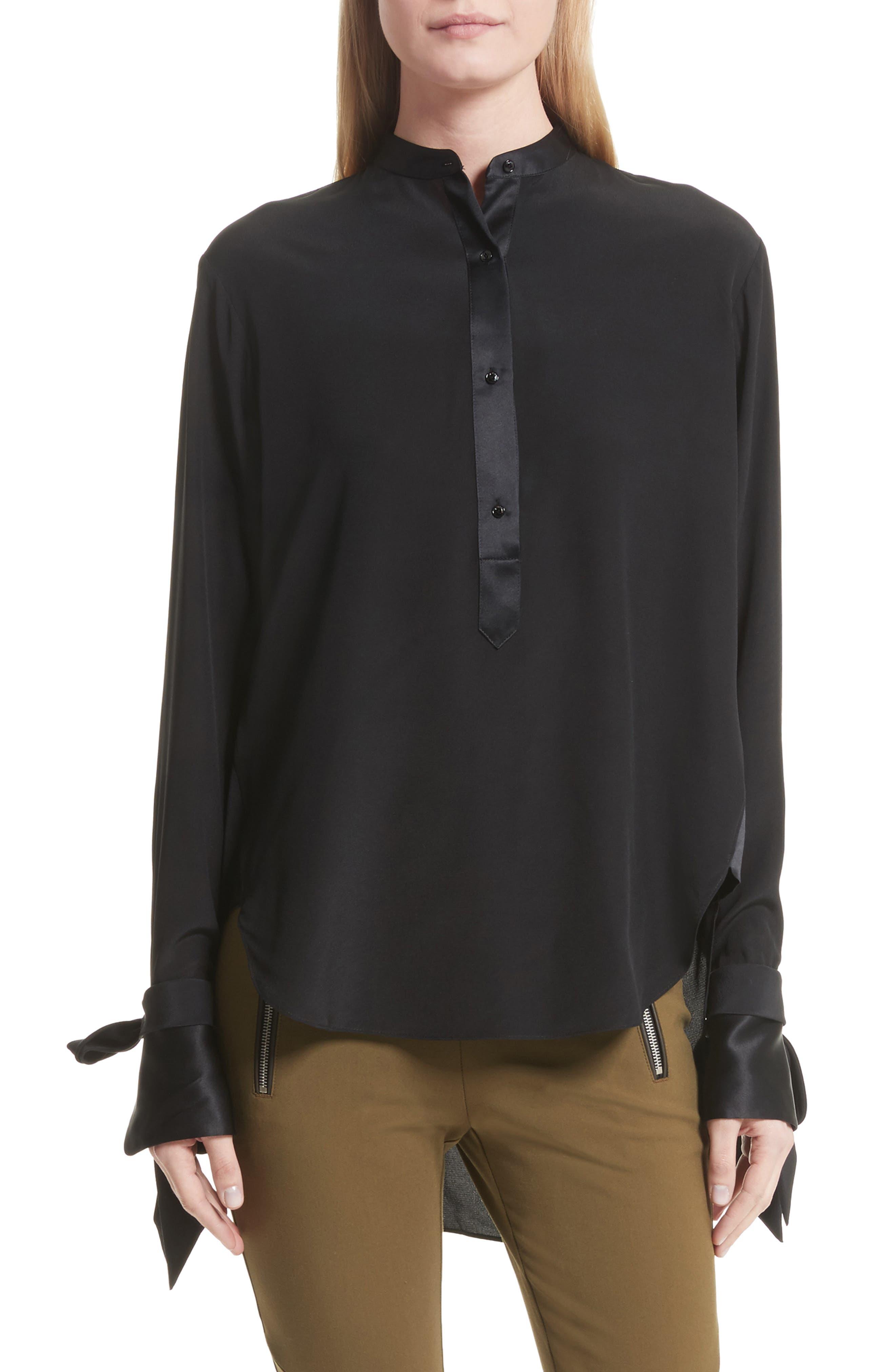 Dylan Silk Shirt,                             Main thumbnail 1, color,                             001