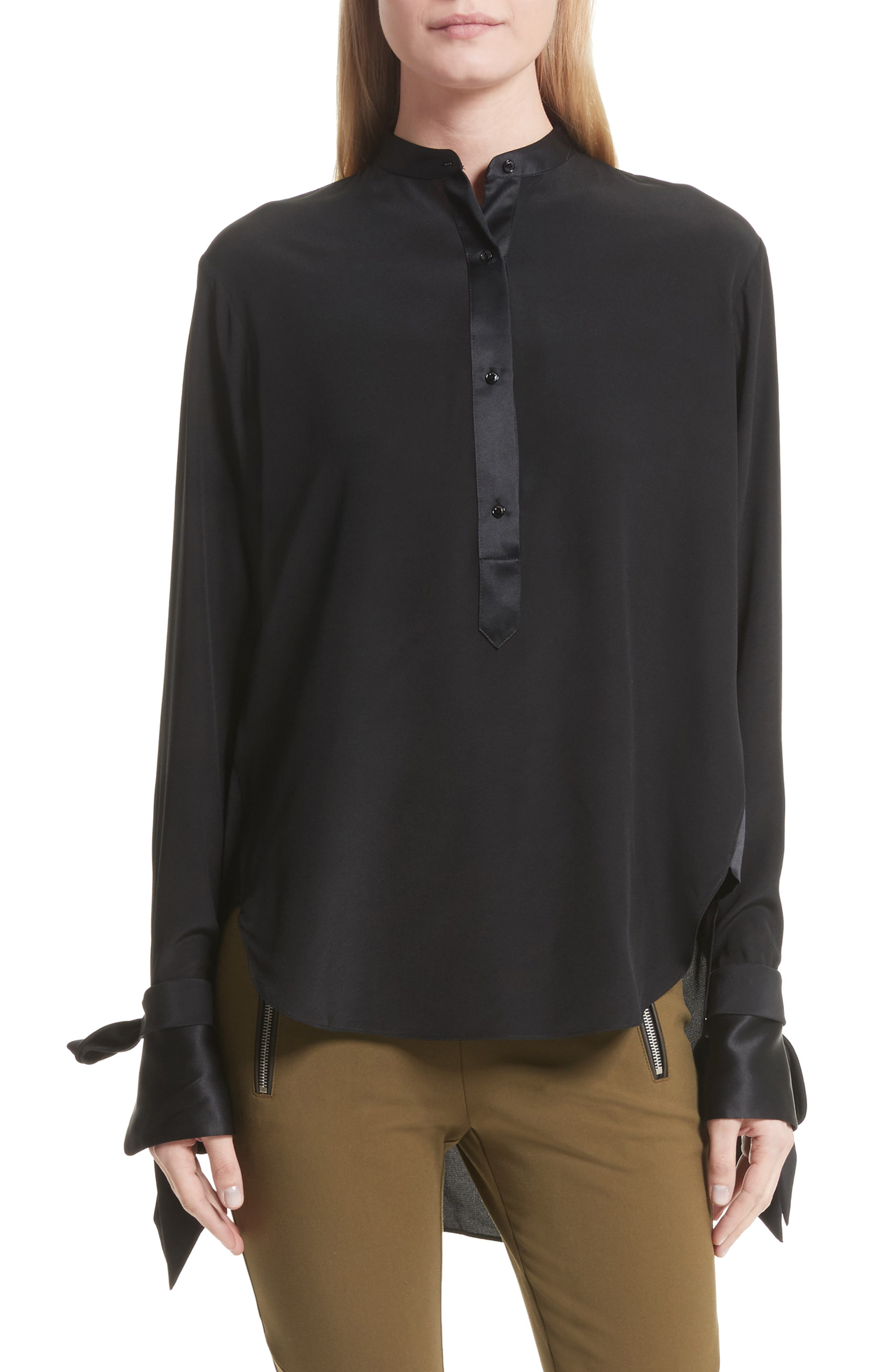 Dylan Silk Shirt,                         Main,                         color, 001