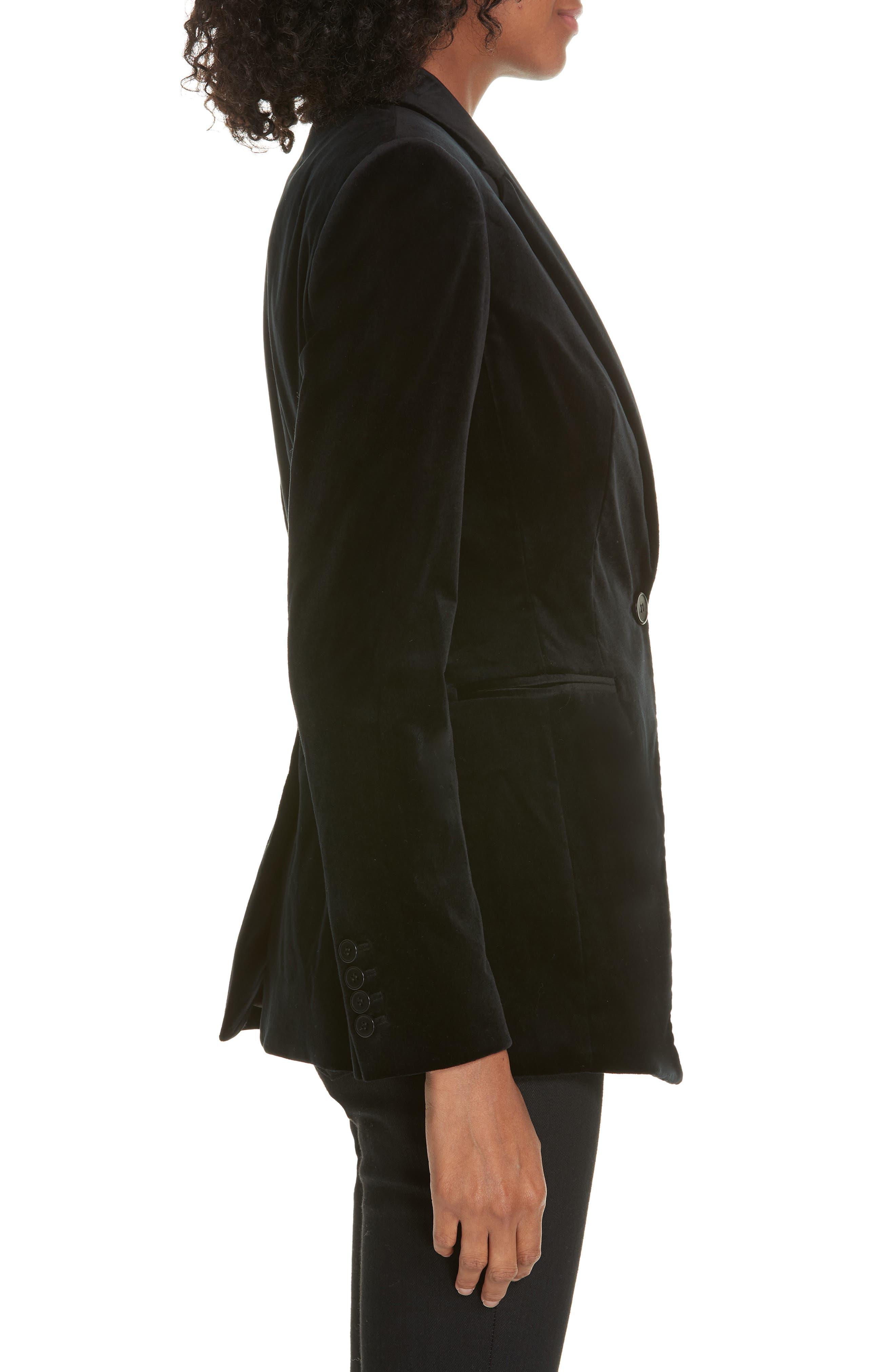 Stretch Velvet Power Jacket,                             Alternate thumbnail 3, color,                             BLACK