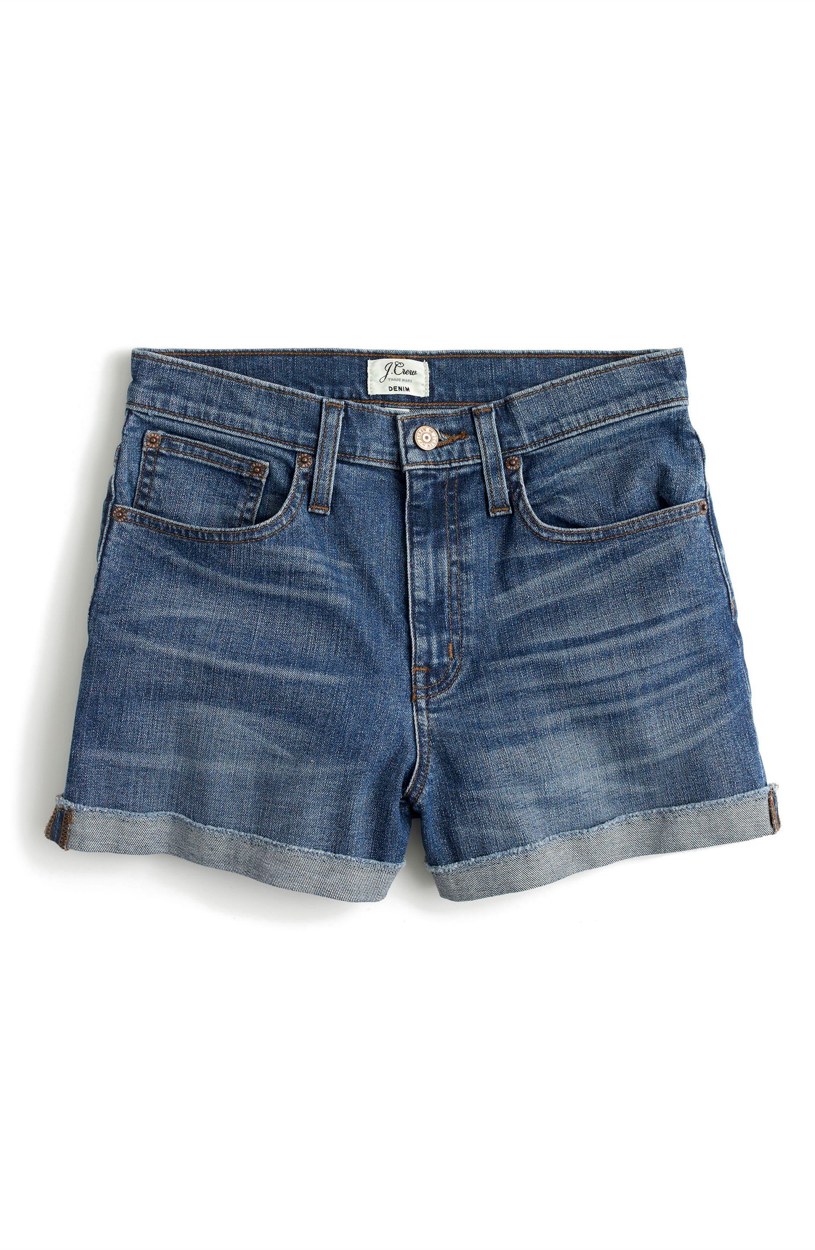 High Rise Denim Shorts,                             Alternate thumbnail 3, color,